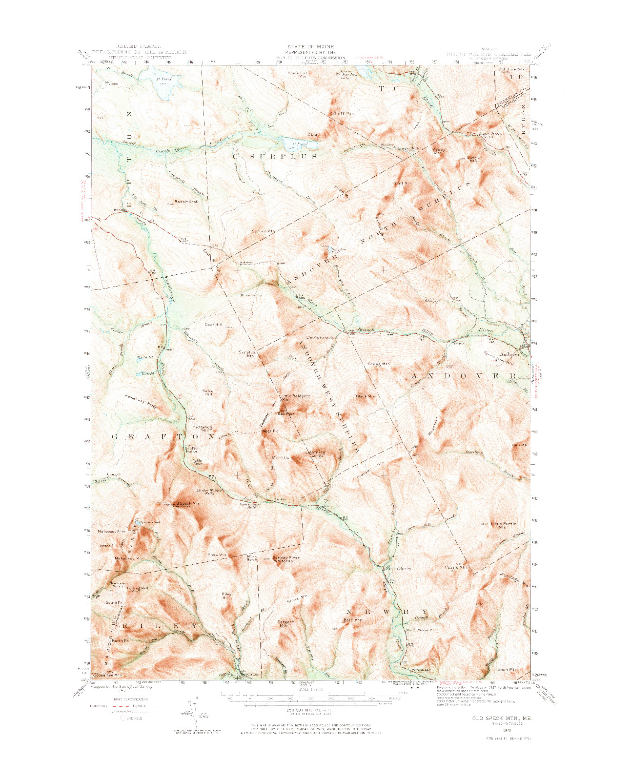 USGS 1:62500-SCALE QUADRANGLE FOR OLD SPECK MTN, ME 1943