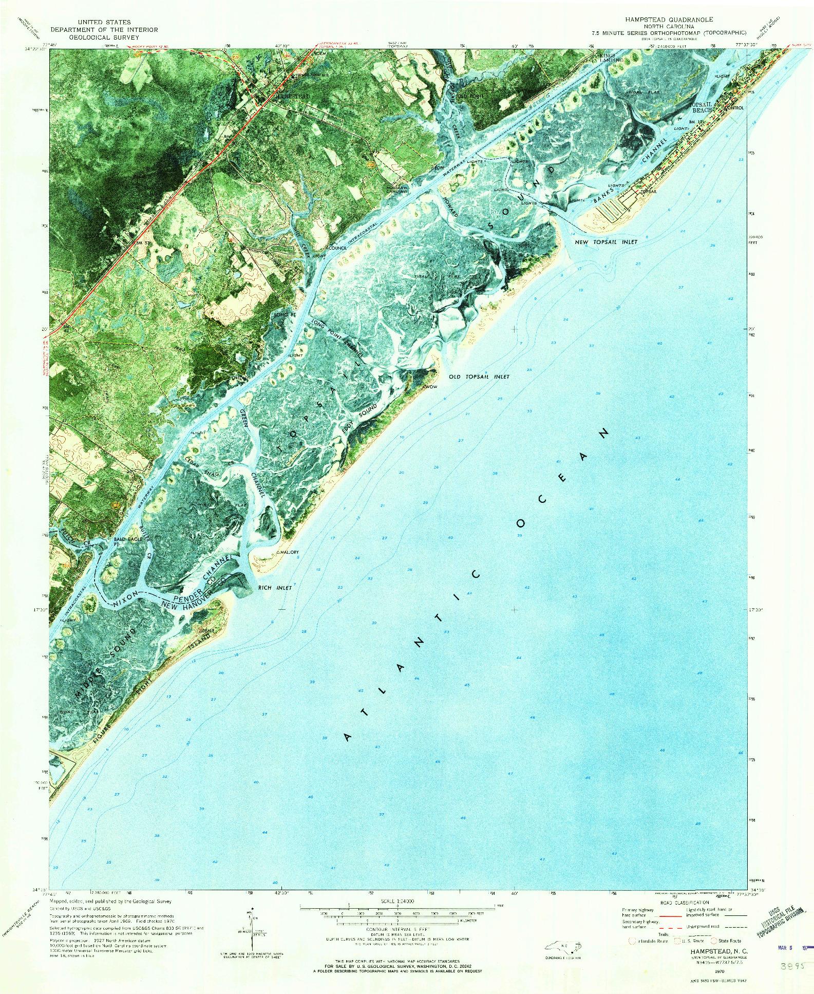 USGS 1:24000-SCALE QUADRANGLE FOR HAMPSTEAD, NC 1970