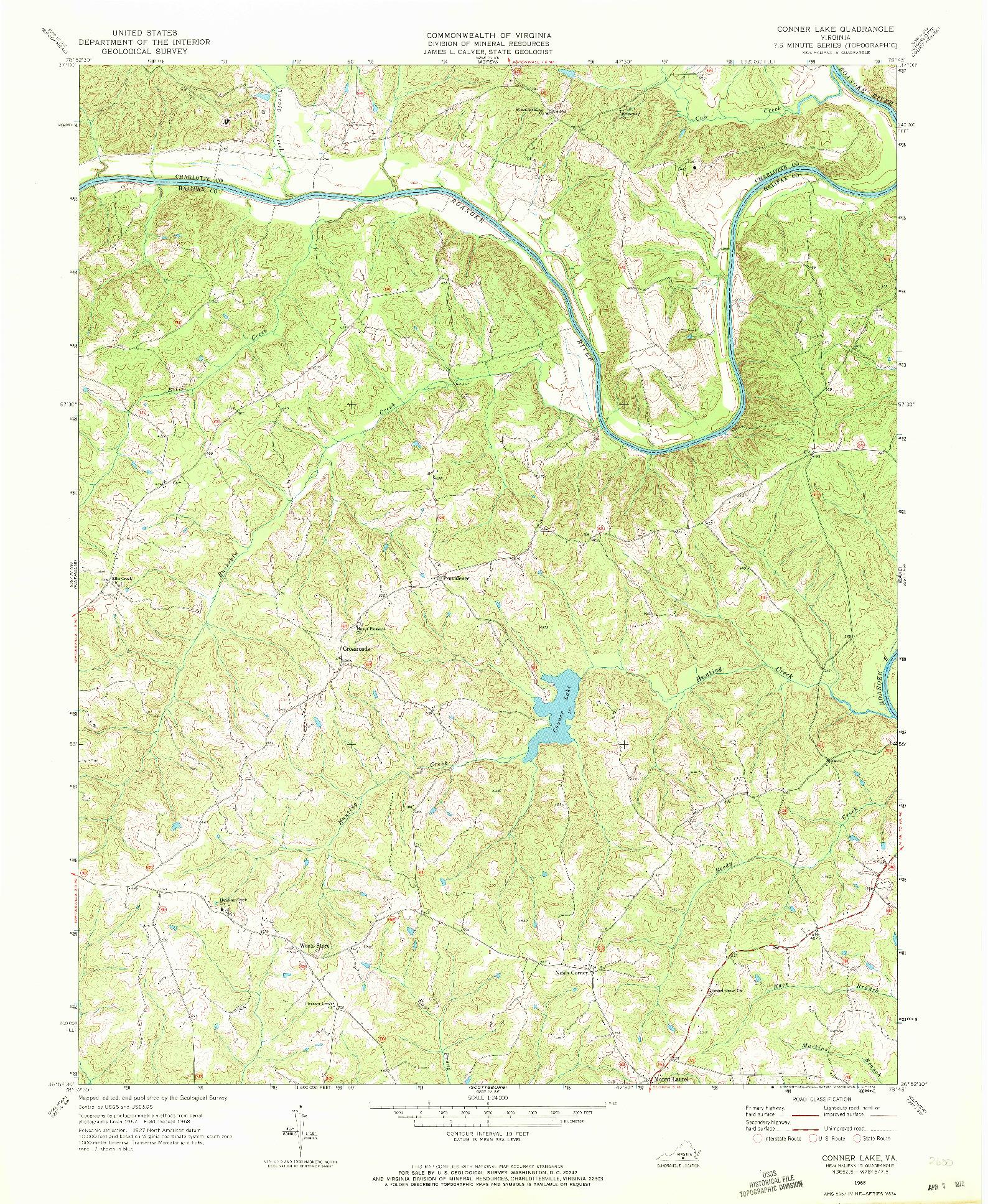 USGS 1:24000-SCALE QUADRANGLE FOR CONNER LAKE, VA 1968