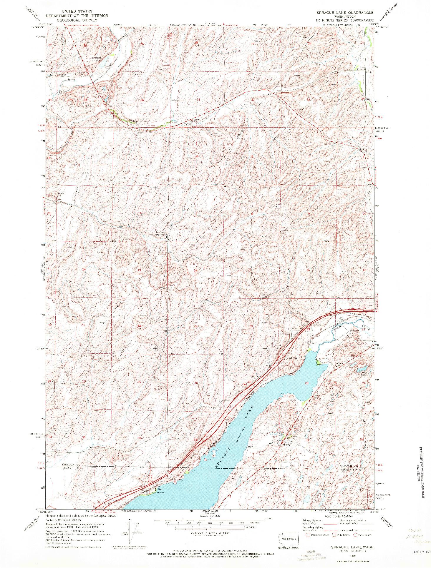USGS 1:24000-SCALE QUADRANGLE FOR SPRAGUE LAKE, WA 1969