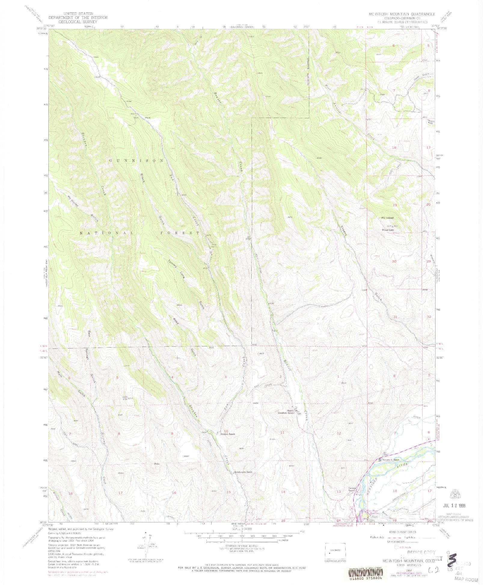 USGS 1:24000-SCALE QUADRANGLE FOR MC INTOSH MOUNTAIN, CO 1954