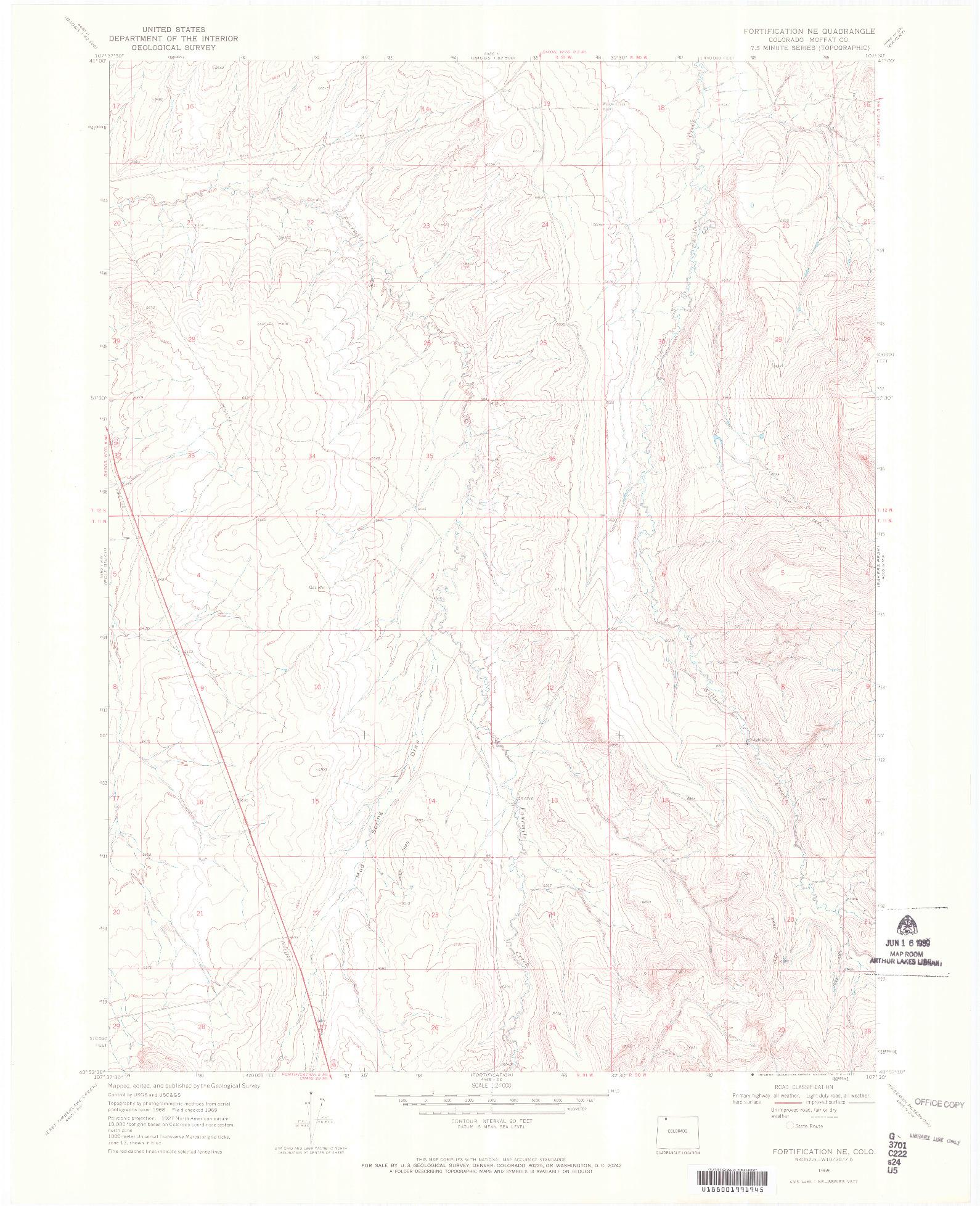 USGS 1:24000-SCALE QUADRANGLE FOR FORTIFICATION NE, CO 1969