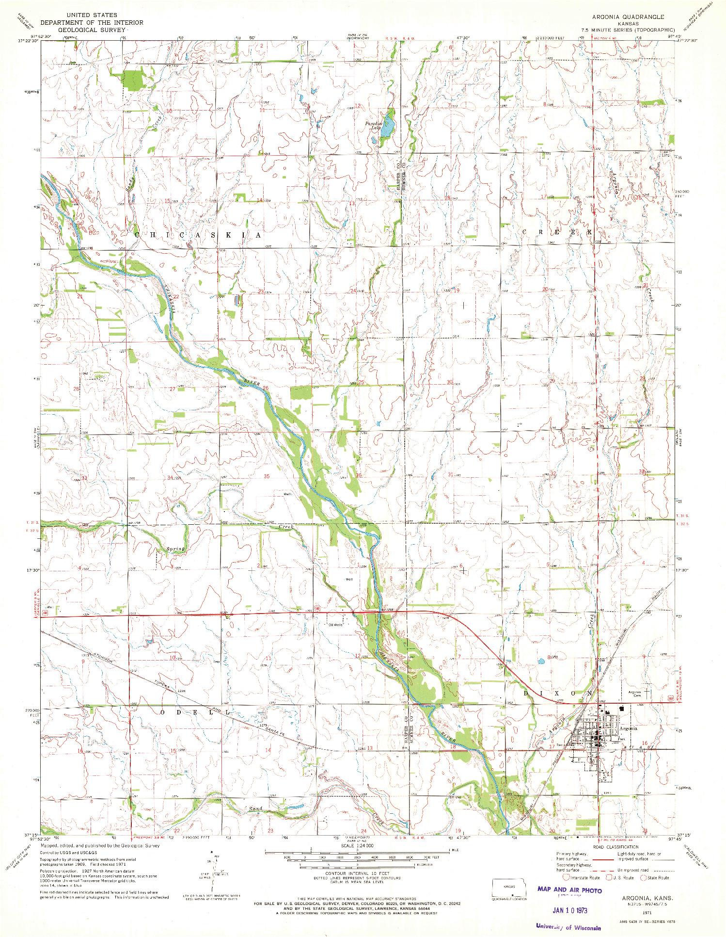 USGS 1:24000-SCALE QUADRANGLE FOR ARGONIA, KS 1971