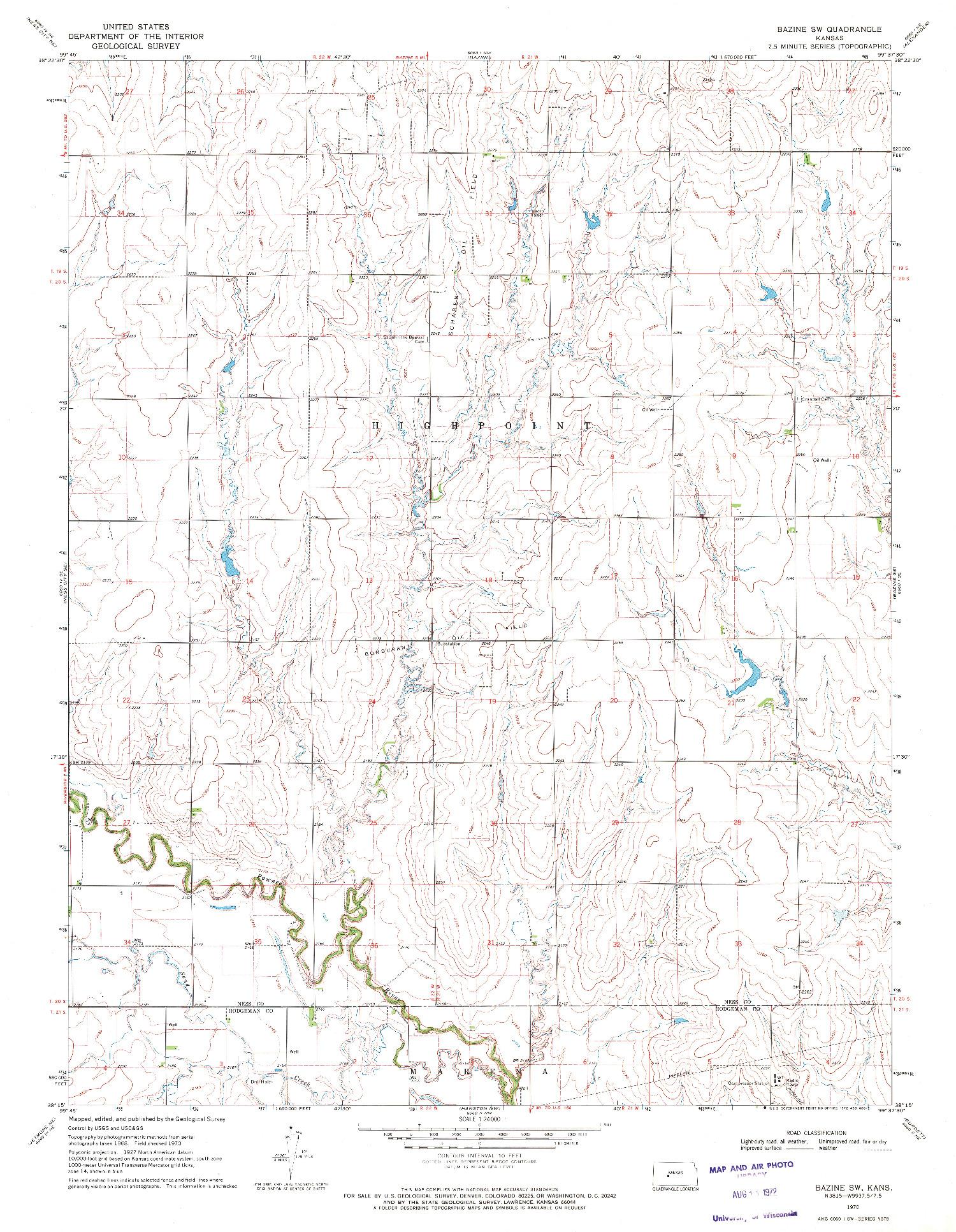 USGS 1:24000-SCALE QUADRANGLE FOR BAZINE SW, KS 1970