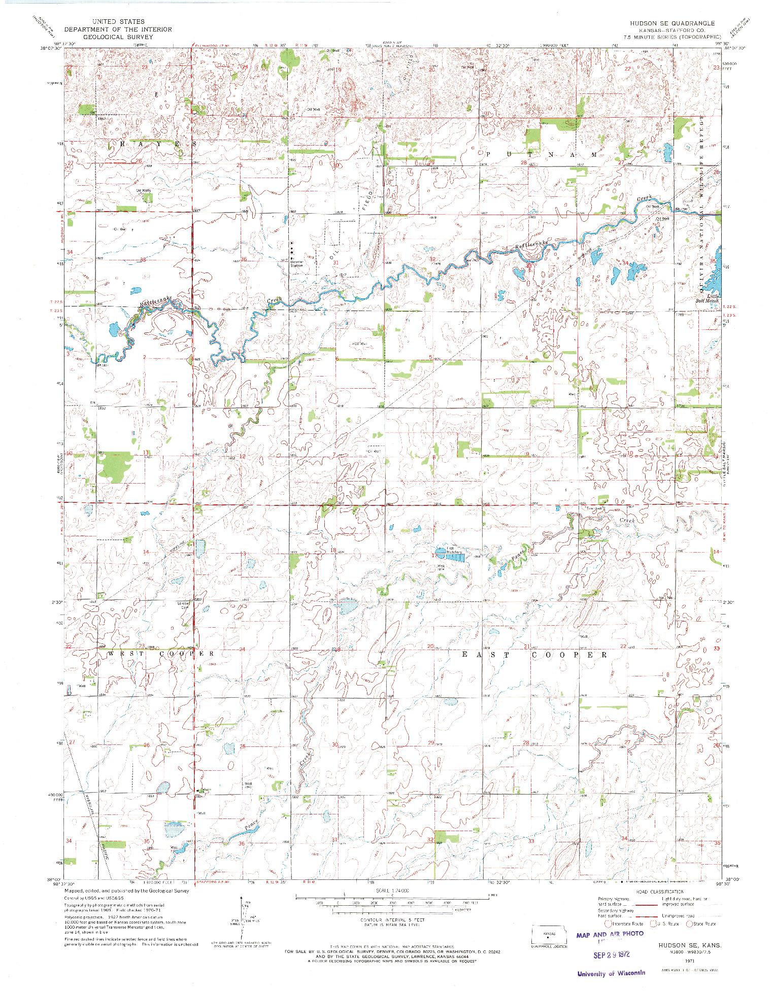 USGS 1:24000-SCALE QUADRANGLE FOR HUDSON SE, KS 1971