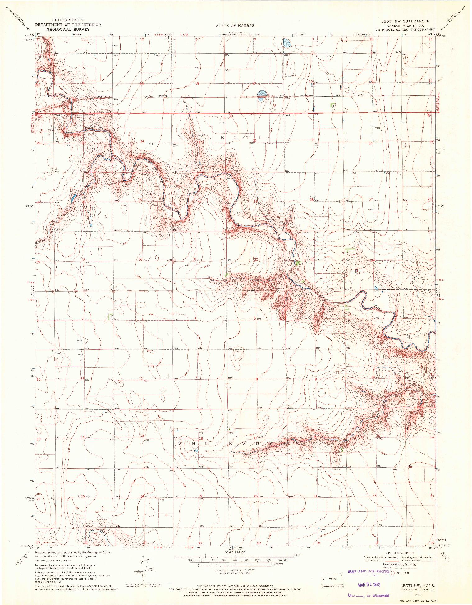 USGS 1:24000-SCALE QUADRANGLE FOR LEOTI NW, KS 1970