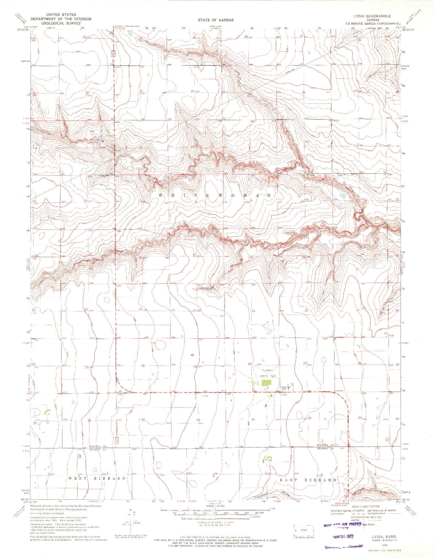 USGS 1:24000-SCALE QUADRANGLE FOR LYDIA, KS 1970