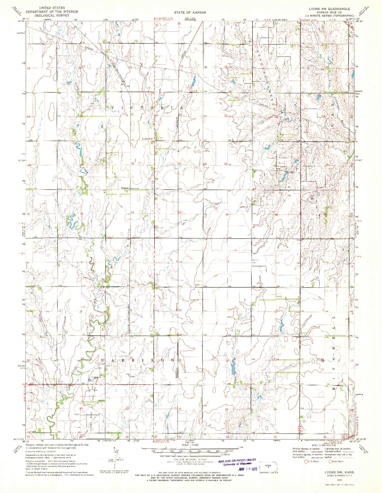 USGS 1:24000-SCALE QUADRANGLE FOR LYONS NW, KS 1970