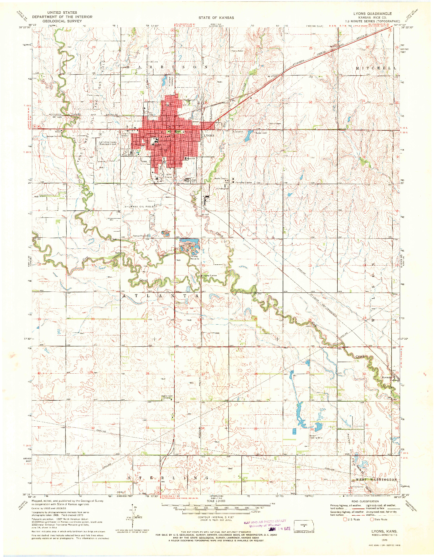 USGS 1:24000-SCALE QUADRANGLE FOR LYONS, KS 1970