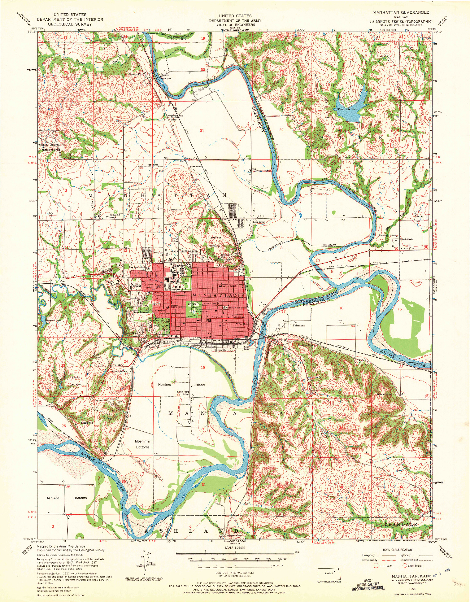 USGS 1:24000-SCALE QUADRANGLE FOR MANHATTAN, KS 1955