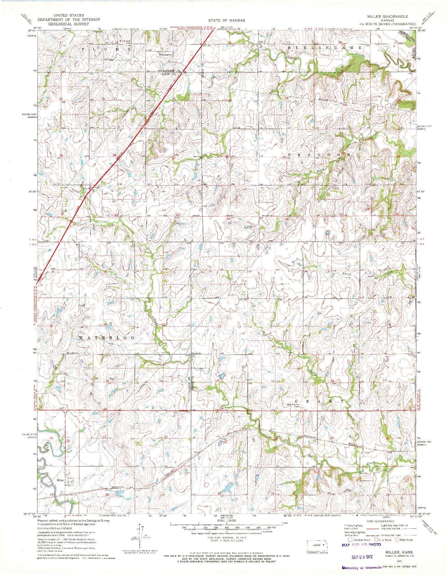 USGS 1:24000-SCALE QUADRANGLE FOR MILLER, KS 1971