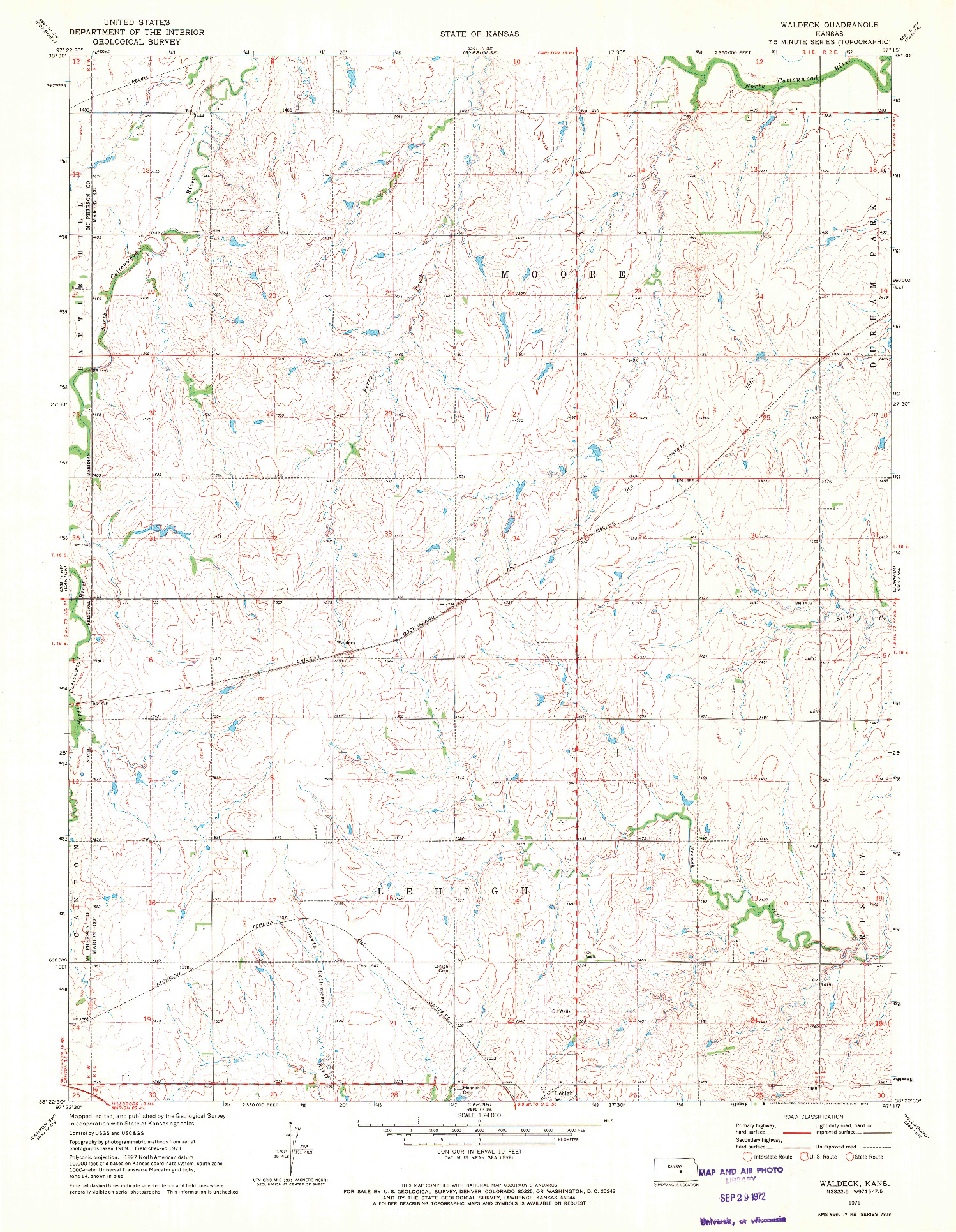 USGS 1:24000-SCALE QUADRANGLE FOR WALDECK, KS 1971