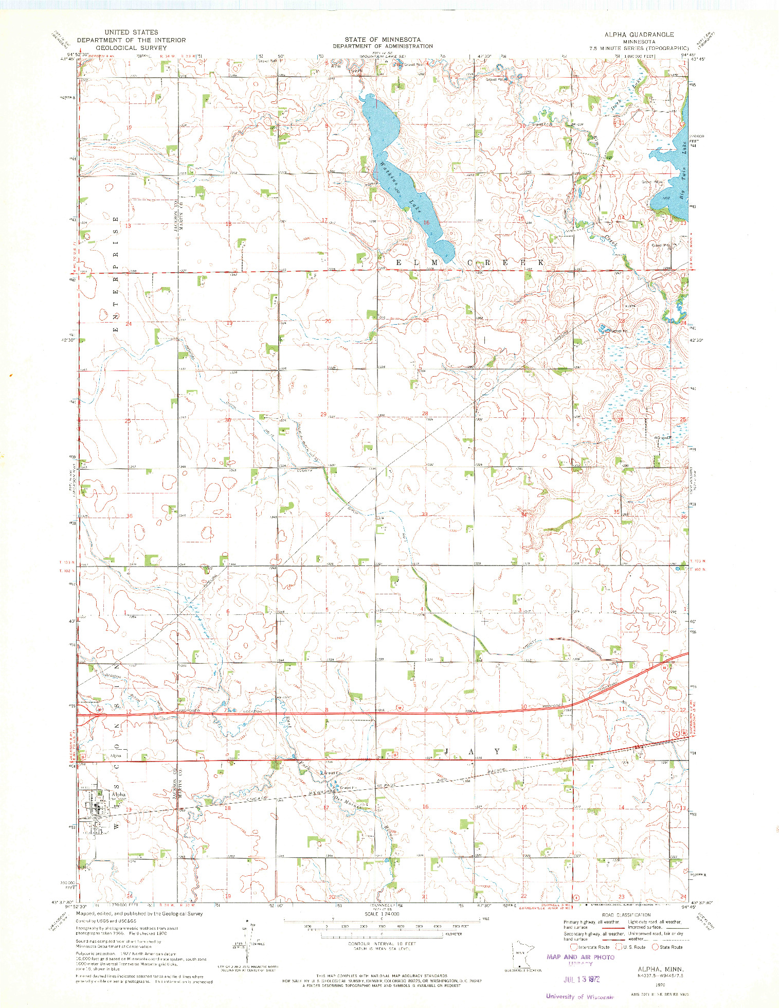 USGS 1:24000-SCALE QUADRANGLE FOR ALPHA, MN 1970