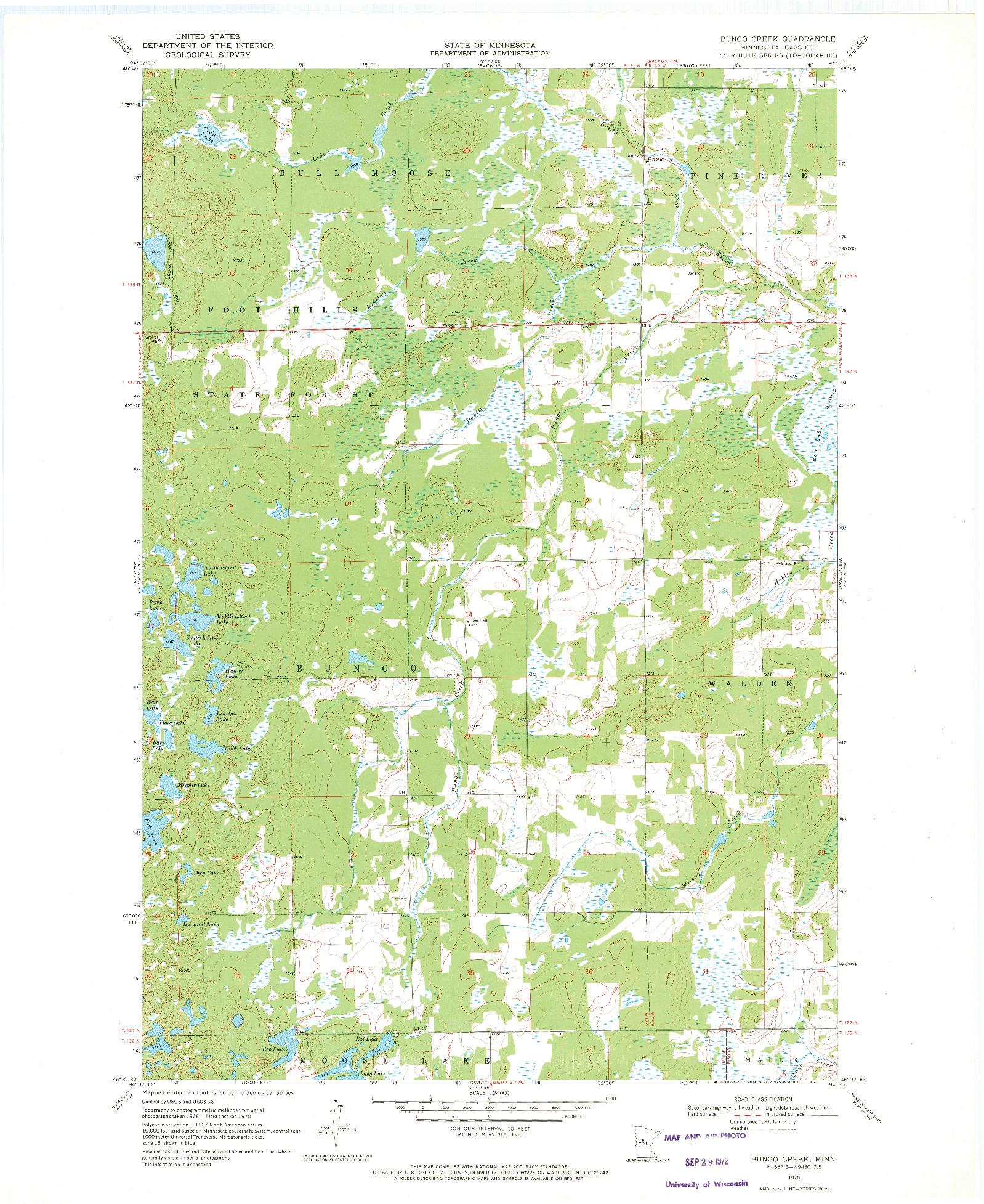 USGS 1:24000-SCALE QUADRANGLE FOR BUNGO CREEK, MN 1970