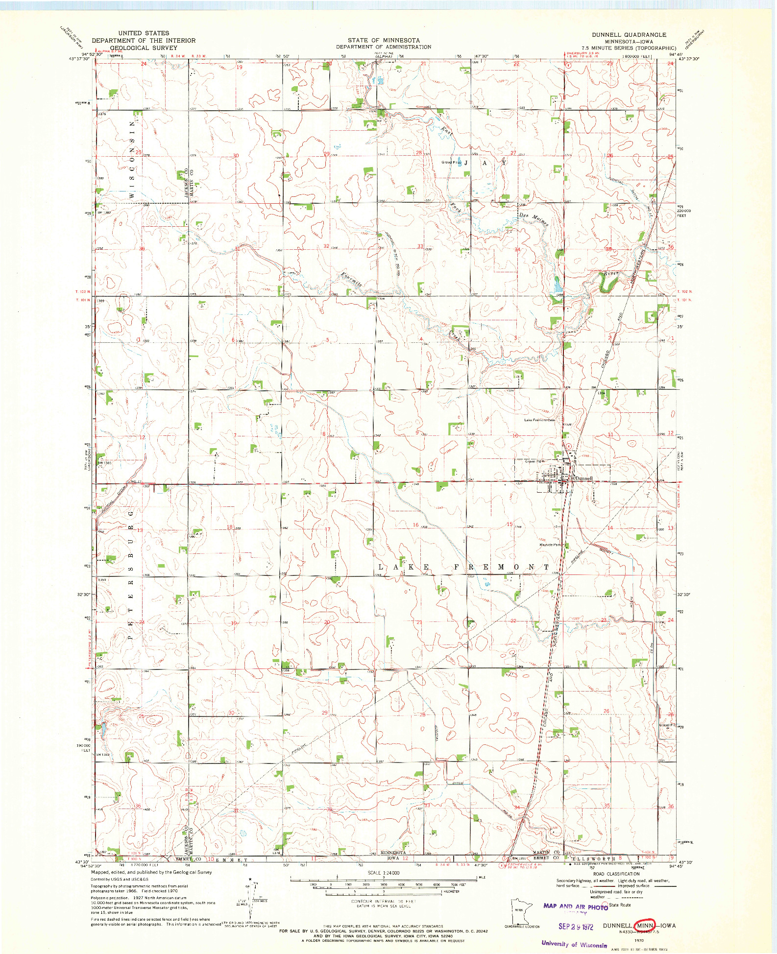 USGS 1:24000-SCALE QUADRANGLE FOR DUNNELL, MN 1970
