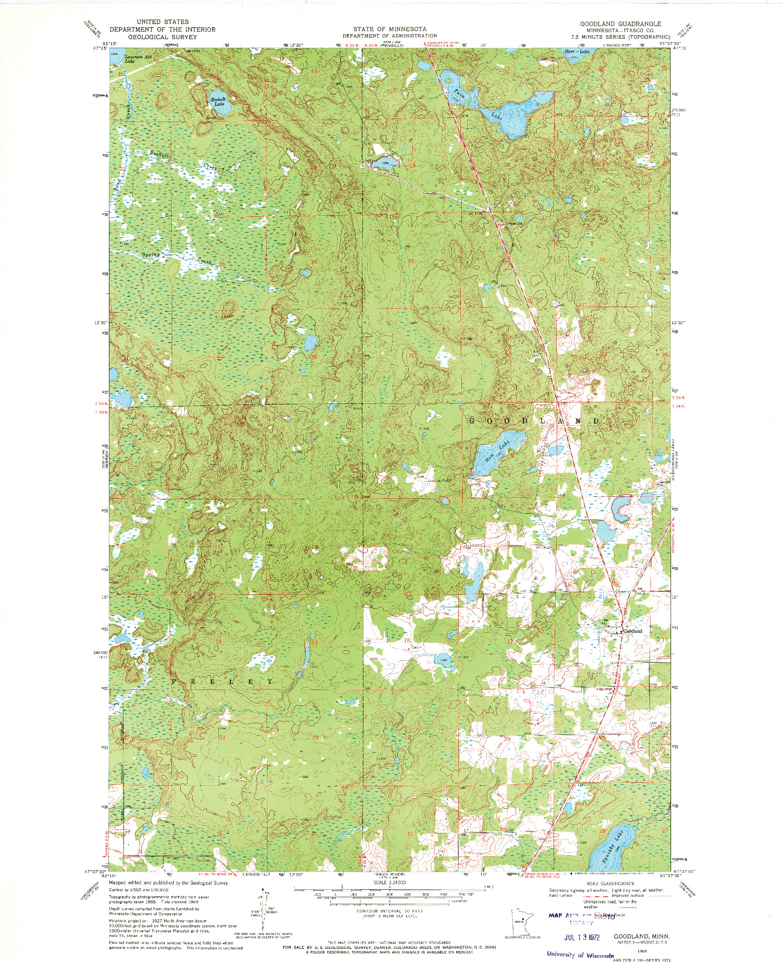 USGS 1:24000-SCALE QUADRANGLE FOR GOODLAND, MN 1969