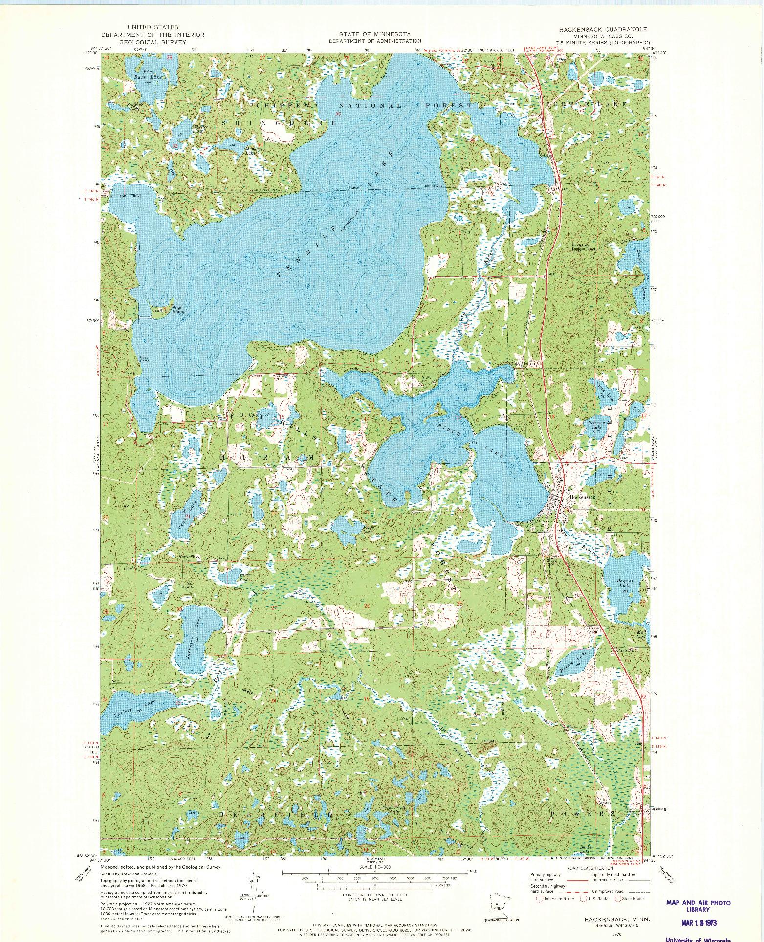 USGS 1:24000-SCALE QUADRANGLE FOR HACKENSACK, MN 1970