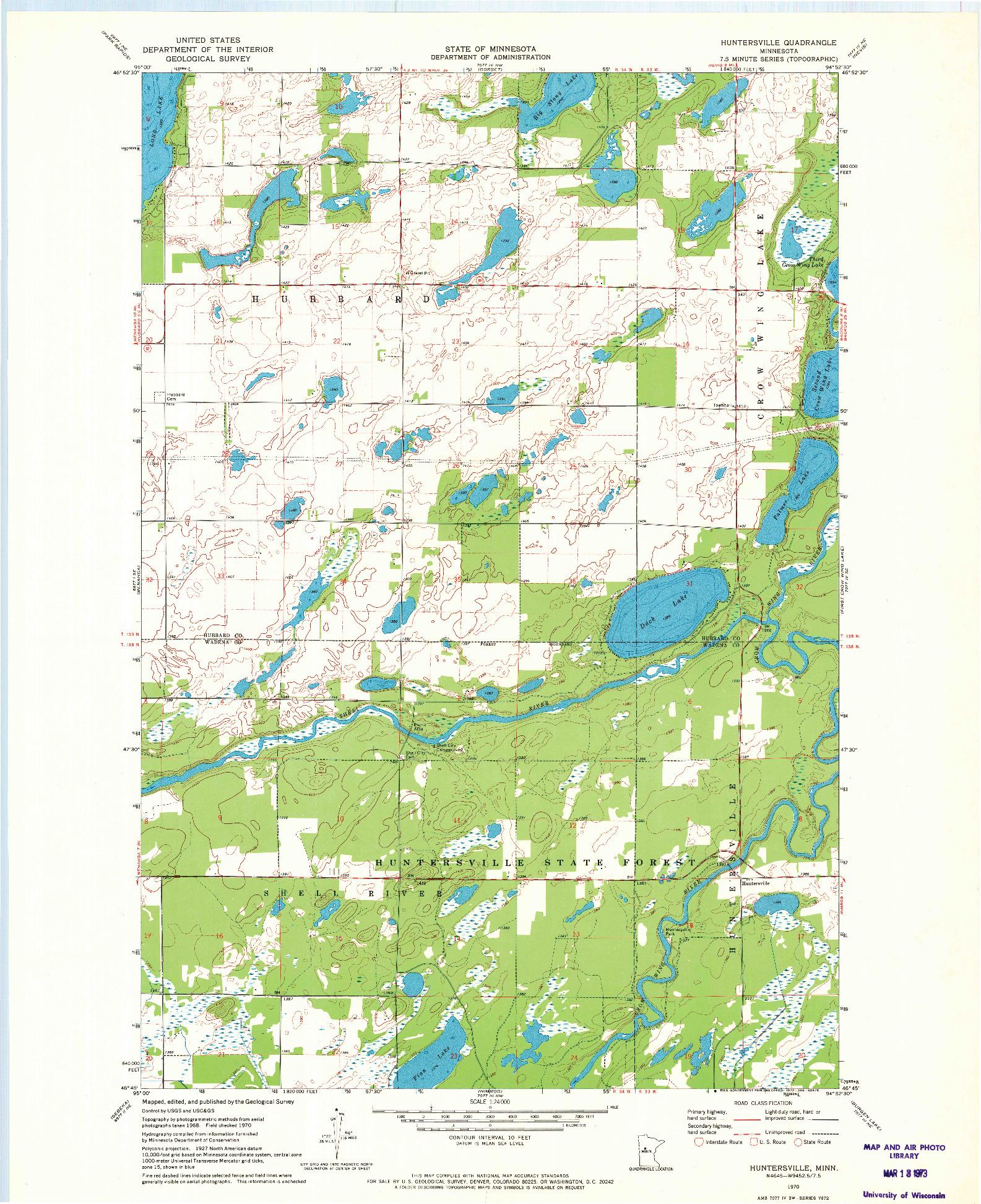 USGS 1:24000-SCALE QUADRANGLE FOR HUNTERSVILLE, MN 1970