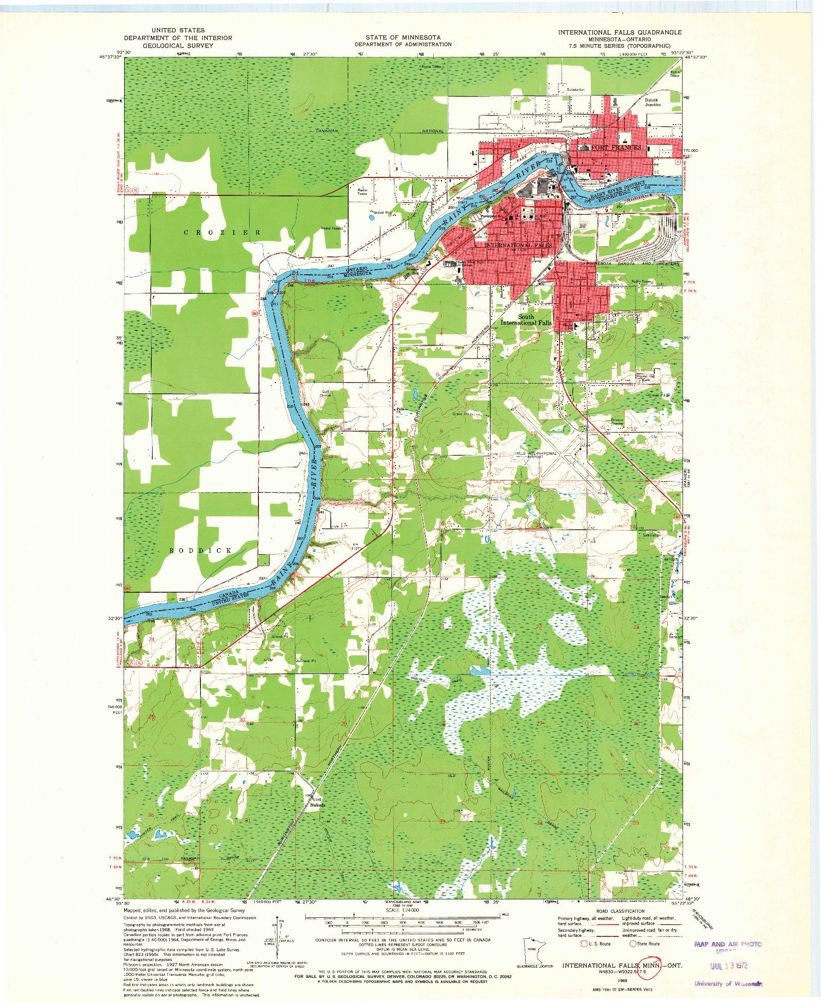 USGS 1:24000-SCALE QUADRANGLE FOR INTERNATIONAL FALLS, MN 1969