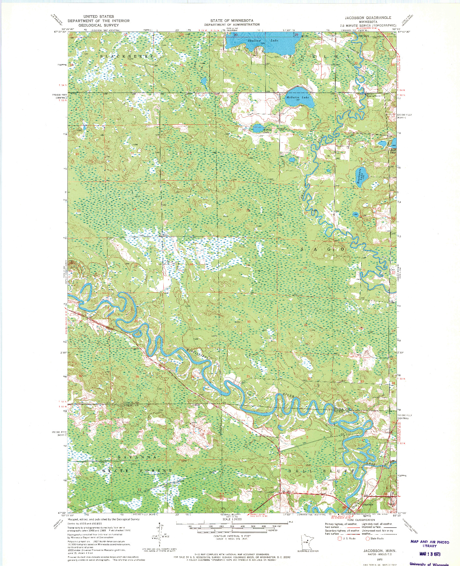 USGS 1:24000-SCALE QUADRANGLE FOR JACOBSON, MN 1970