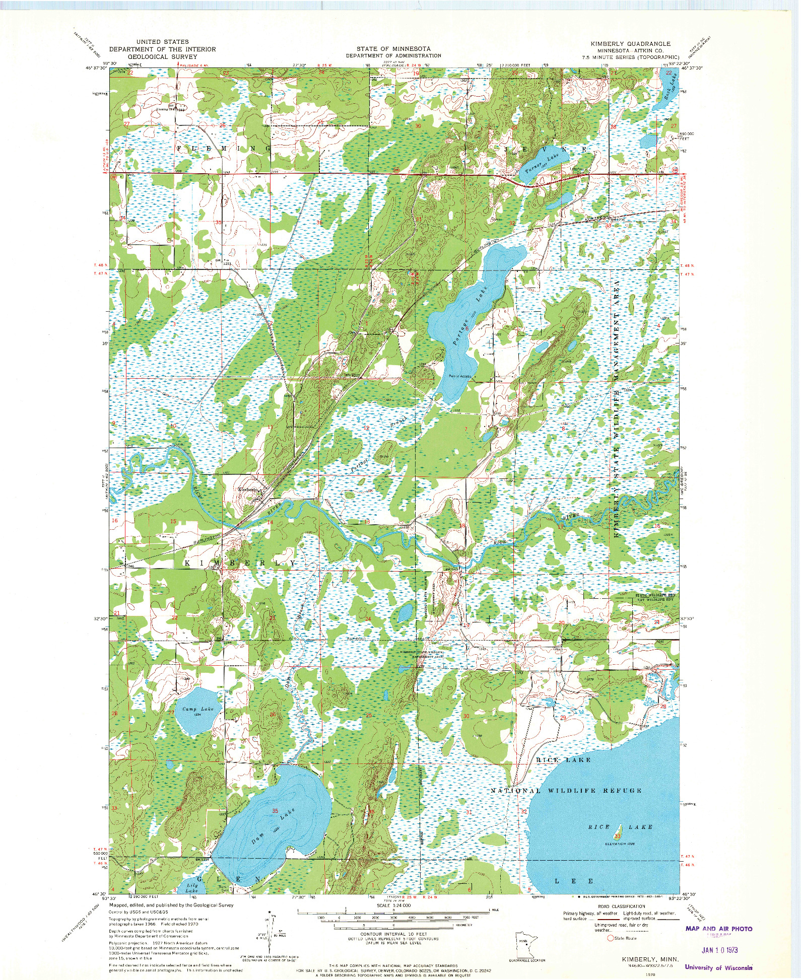 USGS 1:24000-SCALE QUADRANGLE FOR KIMBERLY, MN 1970
