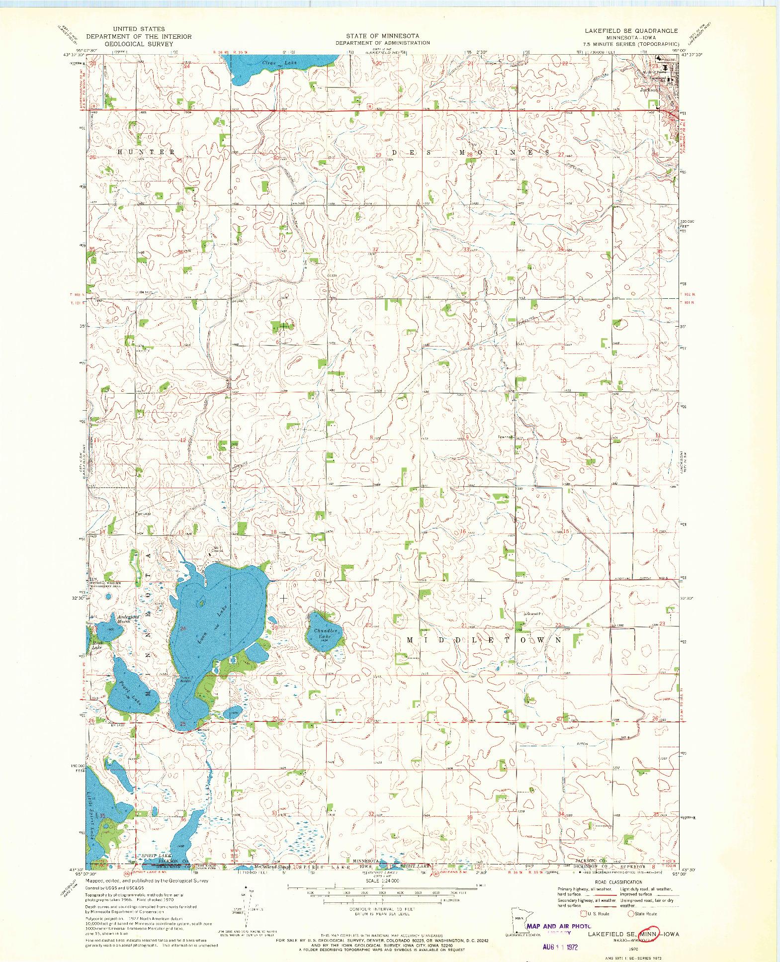USGS 1:24000-SCALE QUADRANGLE FOR LAKEFIELD SE, MN 1970