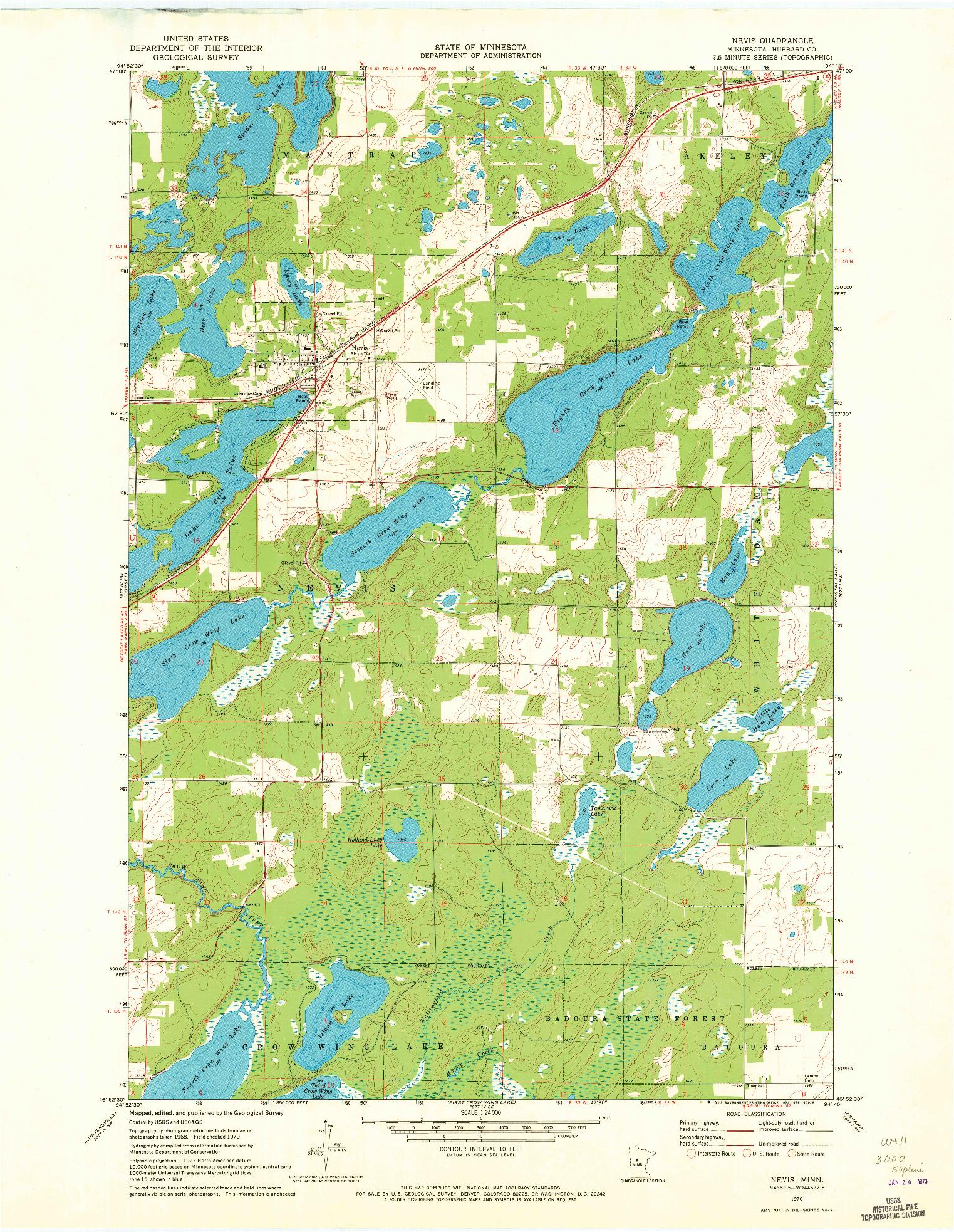 USGS 1:24000-SCALE QUADRANGLE FOR NEVIS, MN 1970