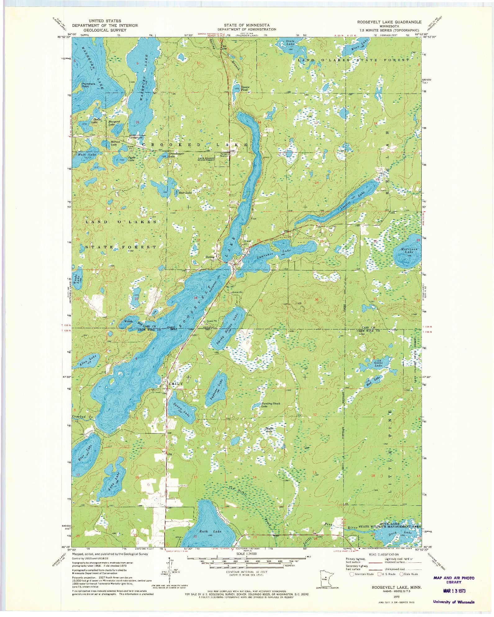 USGS 1:24000-SCALE QUADRANGLE FOR ROOSEVELT LAKE, MN 1970