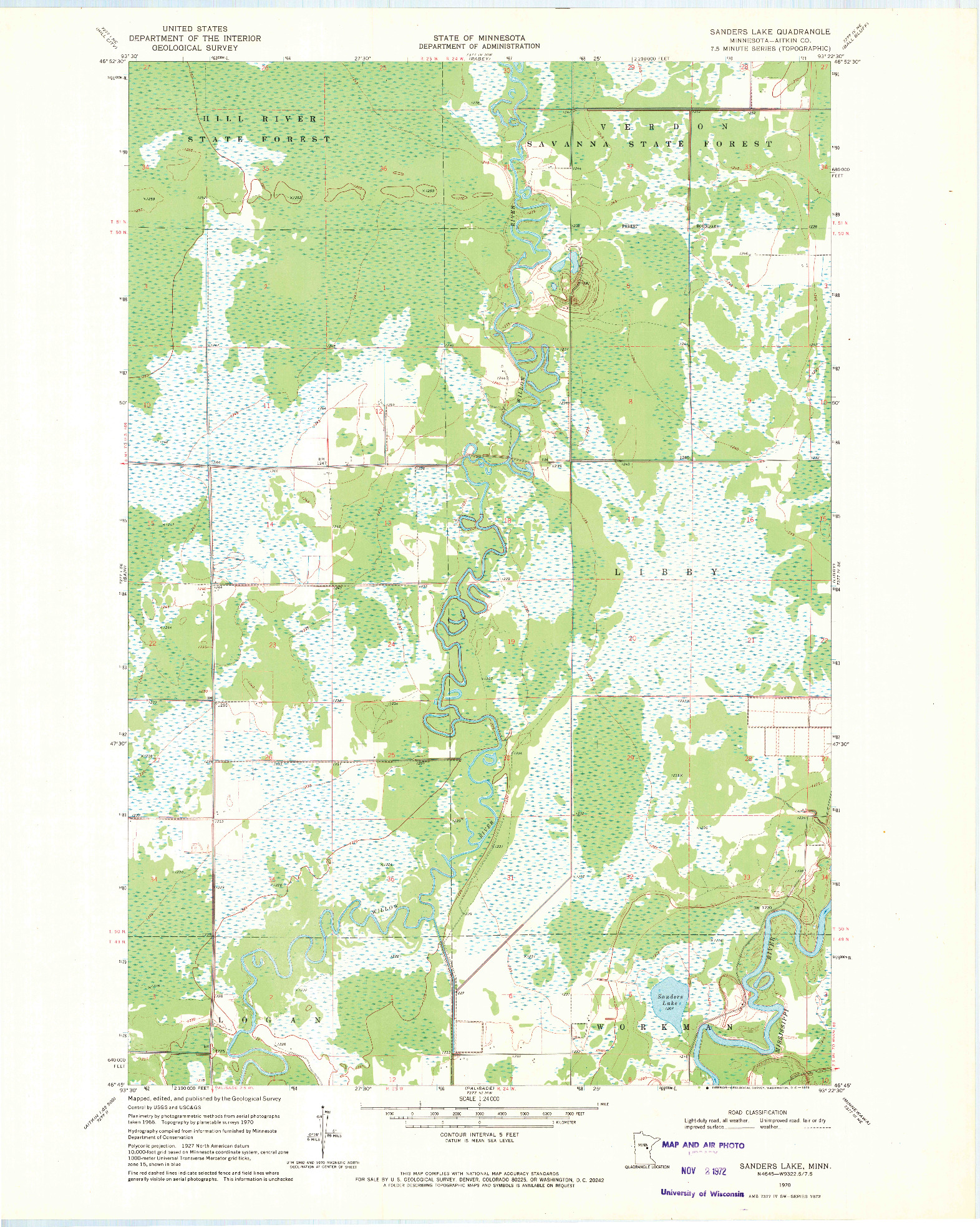 USGS 1:24000-SCALE QUADRANGLE FOR SANDERS LAKE, MN 1970