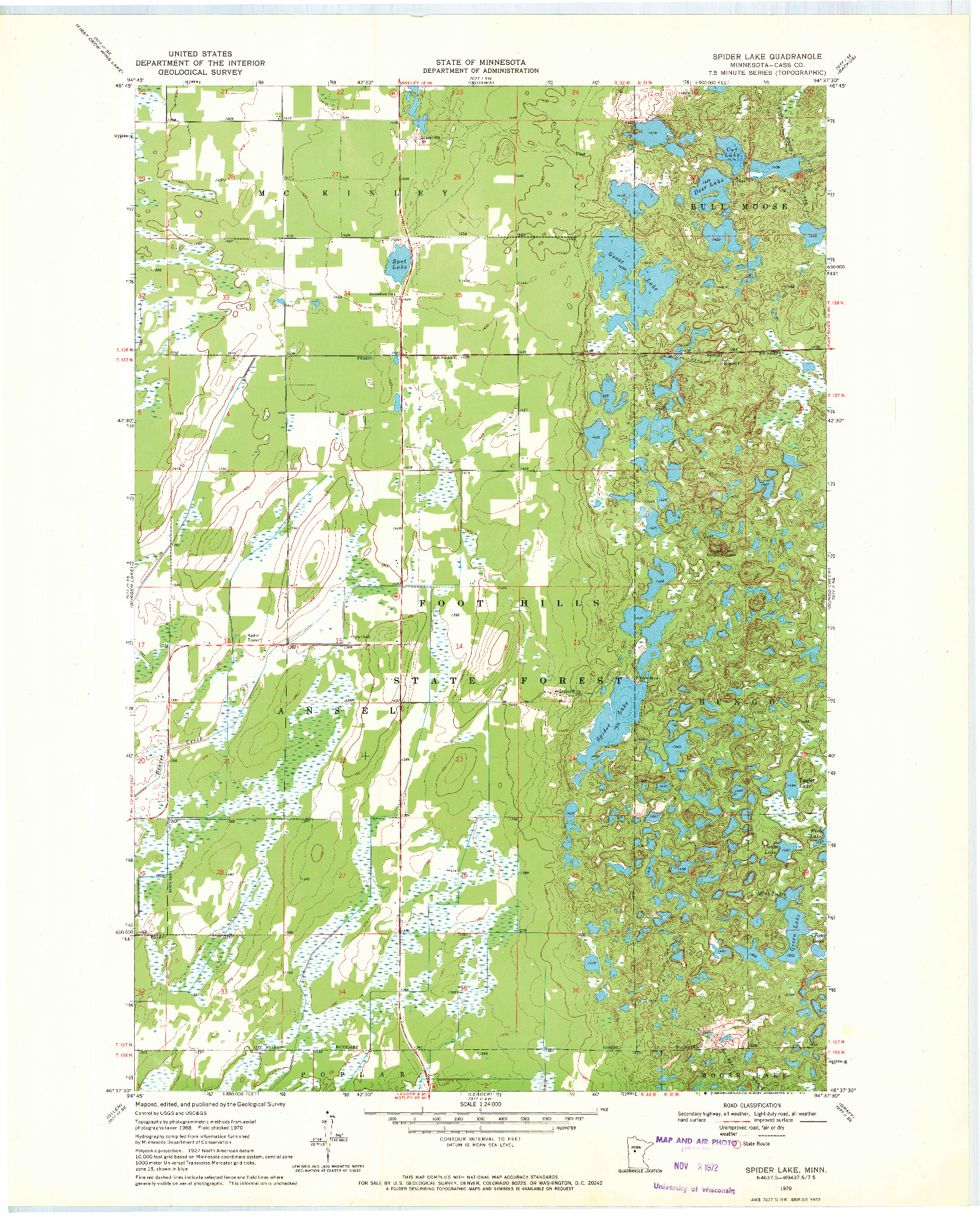 USGS 1:24000-SCALE QUADRANGLE FOR SPIDER LAKE, MN 1970