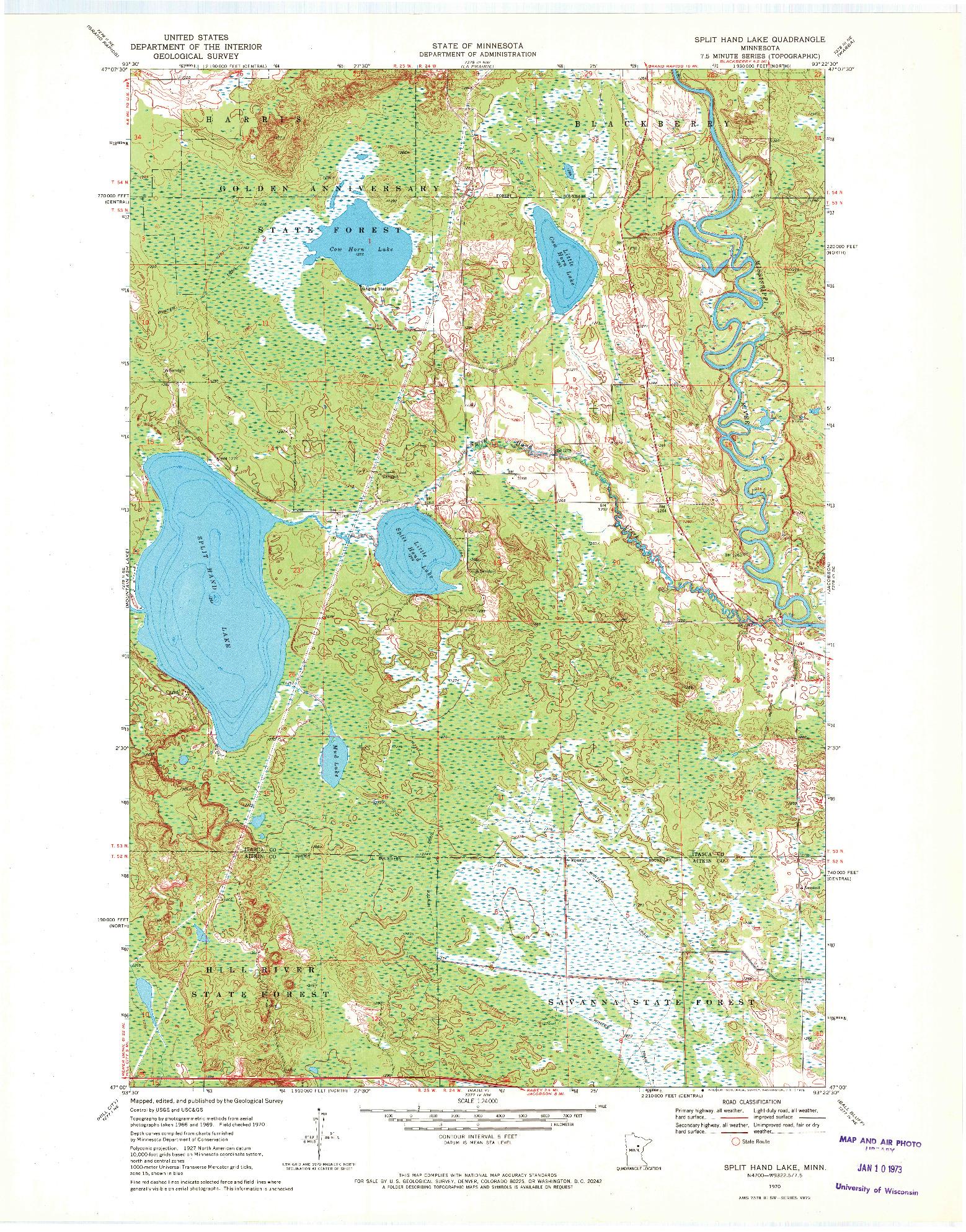 USGS 1:24000-SCALE QUADRANGLE FOR SPLIT HAND LAKE, MN 1970