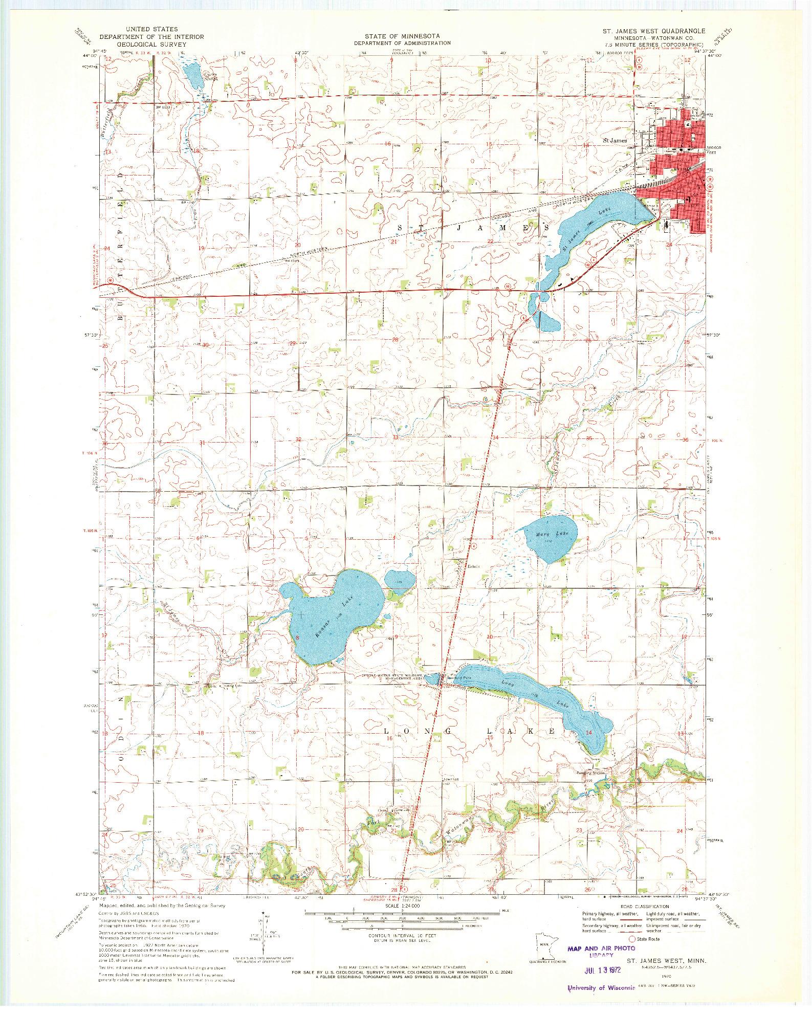 USGS 1:24000-SCALE QUADRANGLE FOR ST JAMES WEST, MN 1970