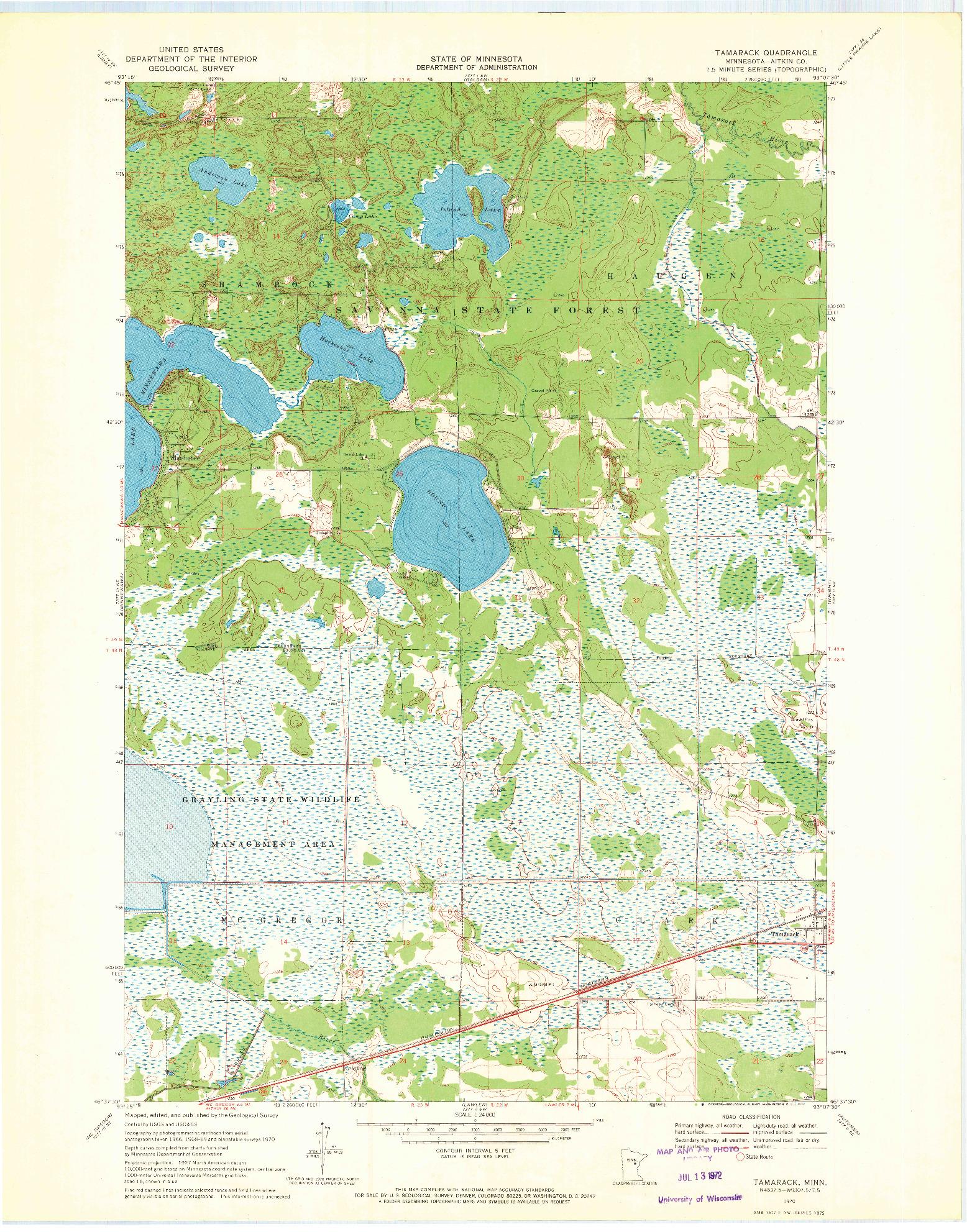 USGS 1:24000-SCALE QUADRANGLE FOR TAMARACK, MN 1970