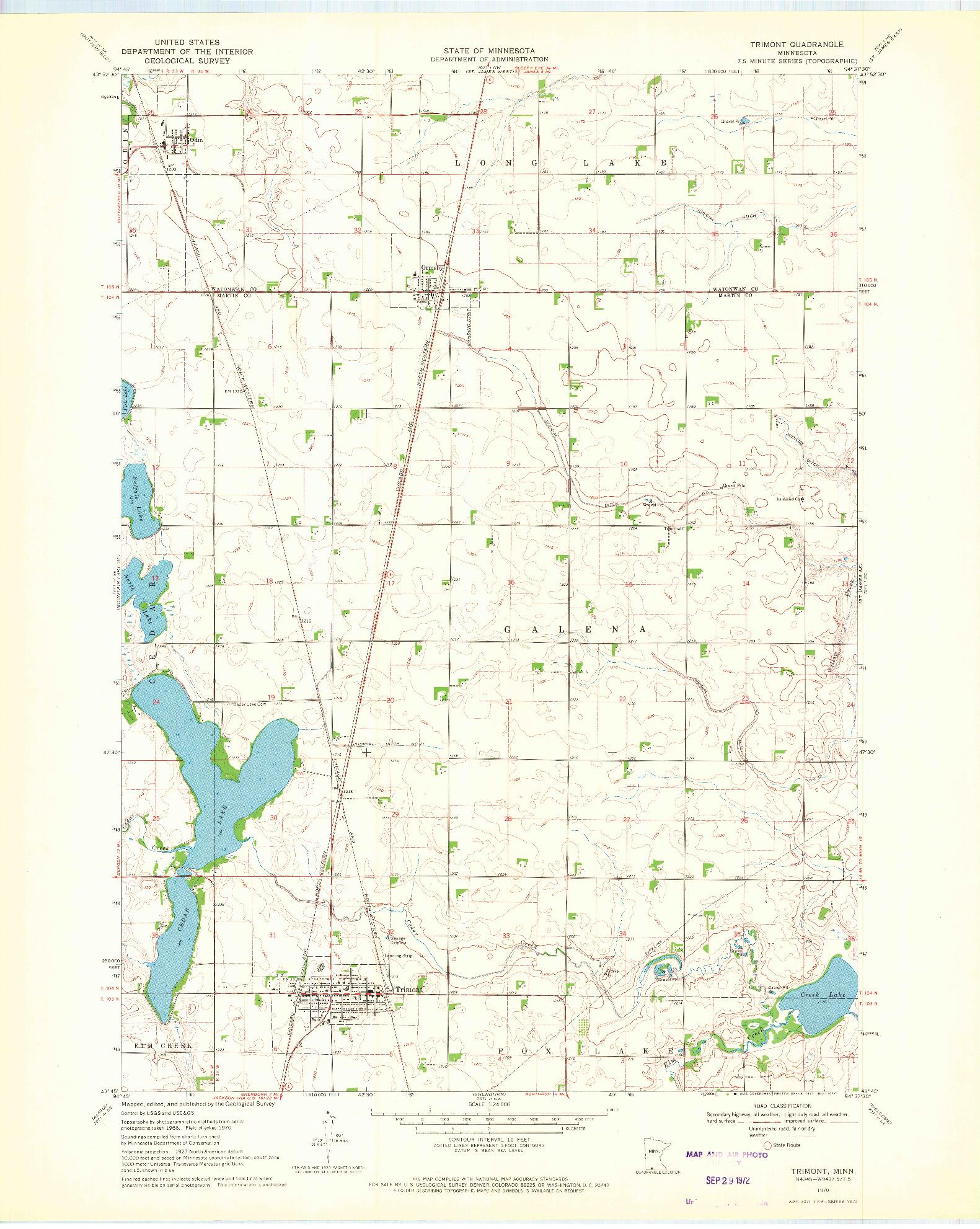 USGS 1:24000-SCALE QUADRANGLE FOR TRIMONT, MN 1970
