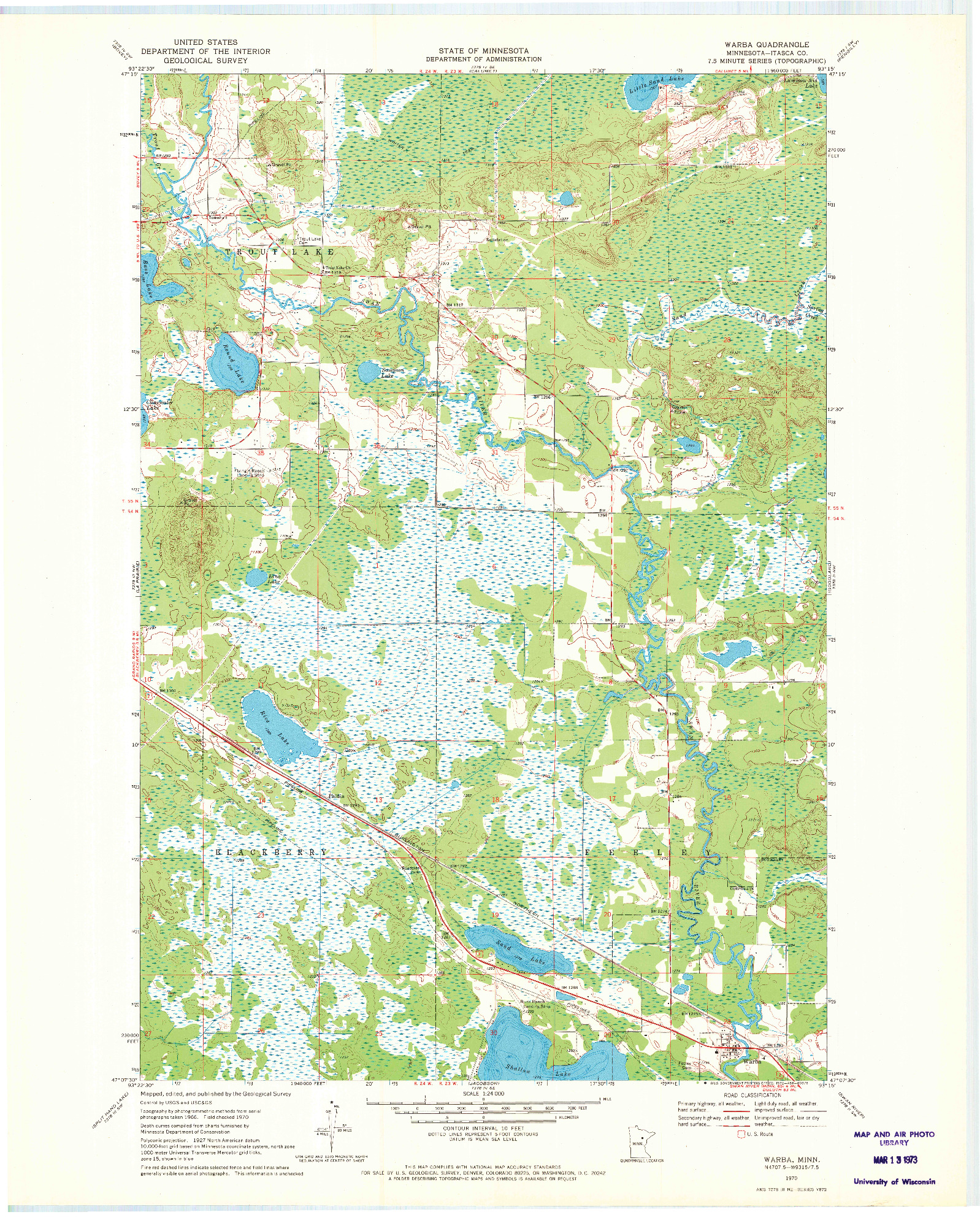 USGS 1:24000-SCALE QUADRANGLE FOR WARBA, MN 1970