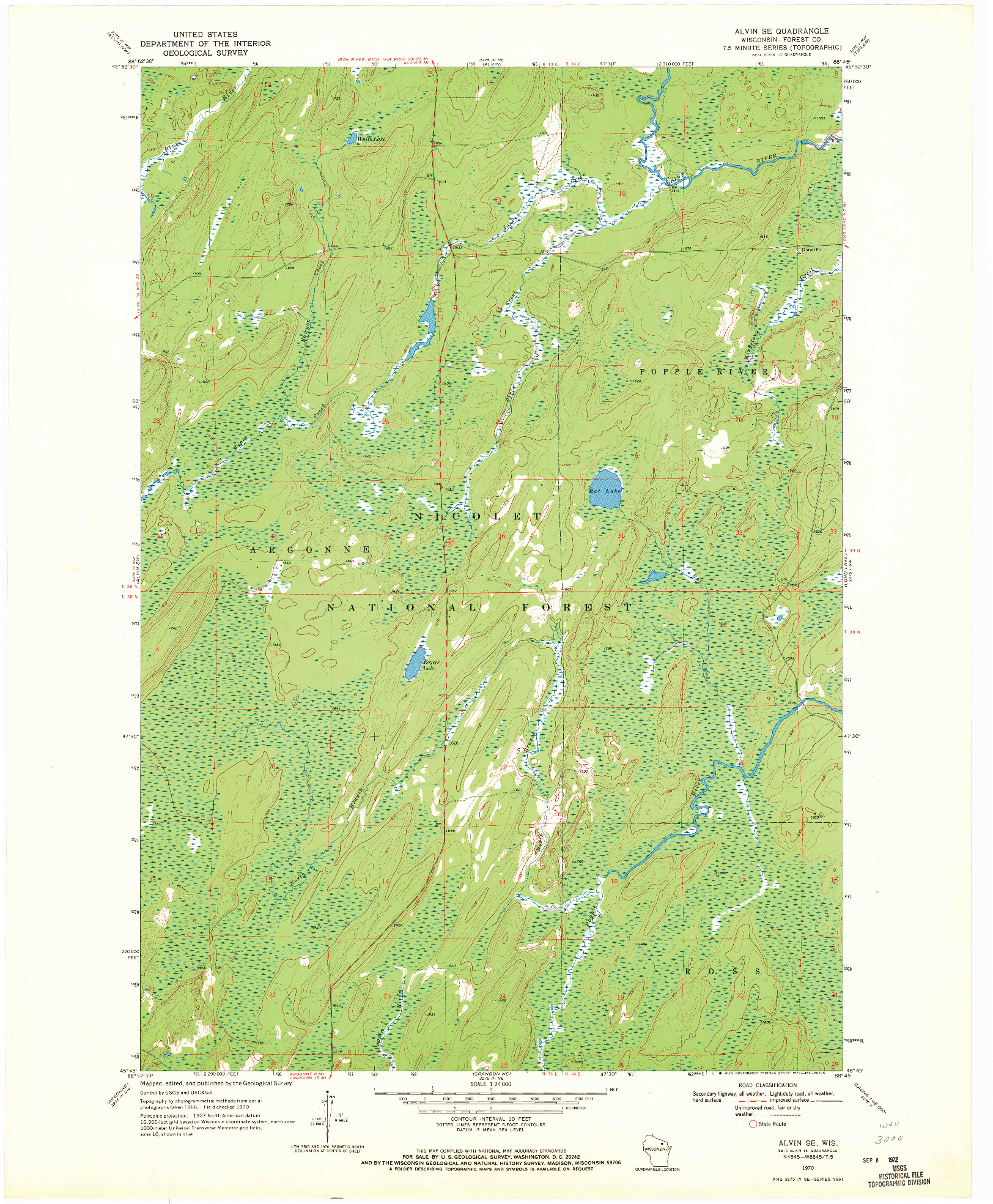 USGS 1:24000-SCALE QUADRANGLE FOR ALVIN SE, WI 1970