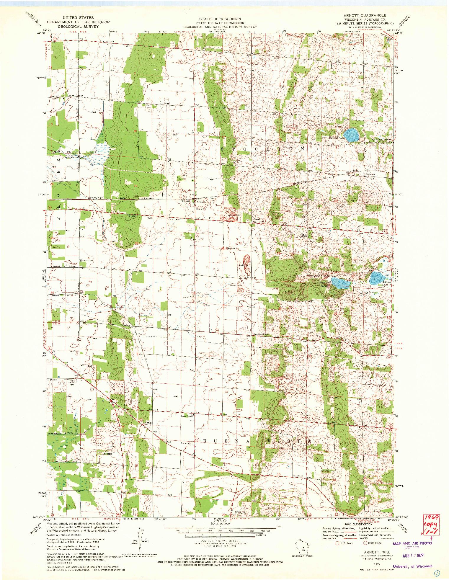 USGS 1:24000-SCALE QUADRANGLE FOR ARNOTT, WI 1969