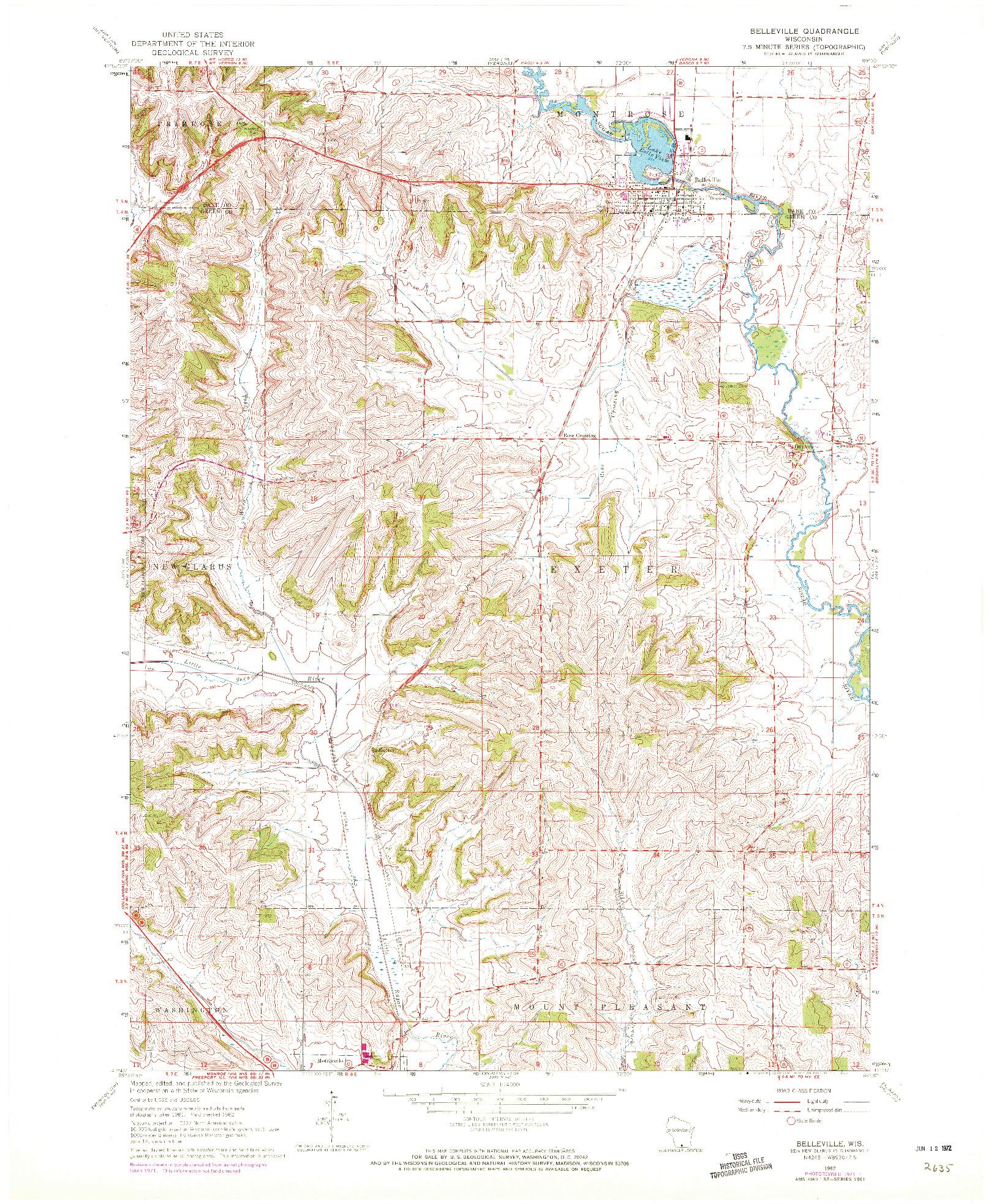 USGS 1:24000-SCALE QUADRANGLE FOR BELLEVILLE, WI 1962