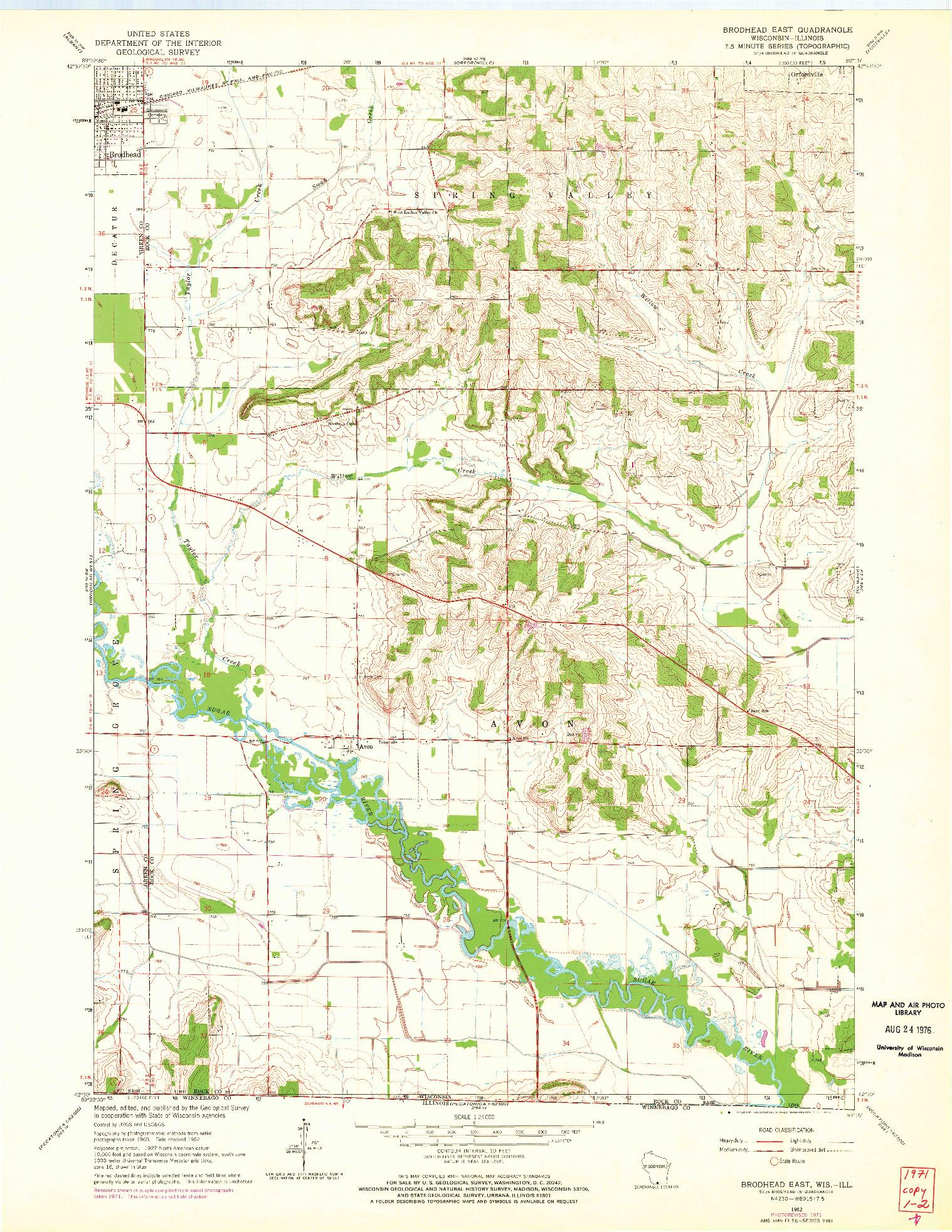USGS 1:24000-SCALE QUADRANGLE FOR BRODHEAD EAST, WI 1962