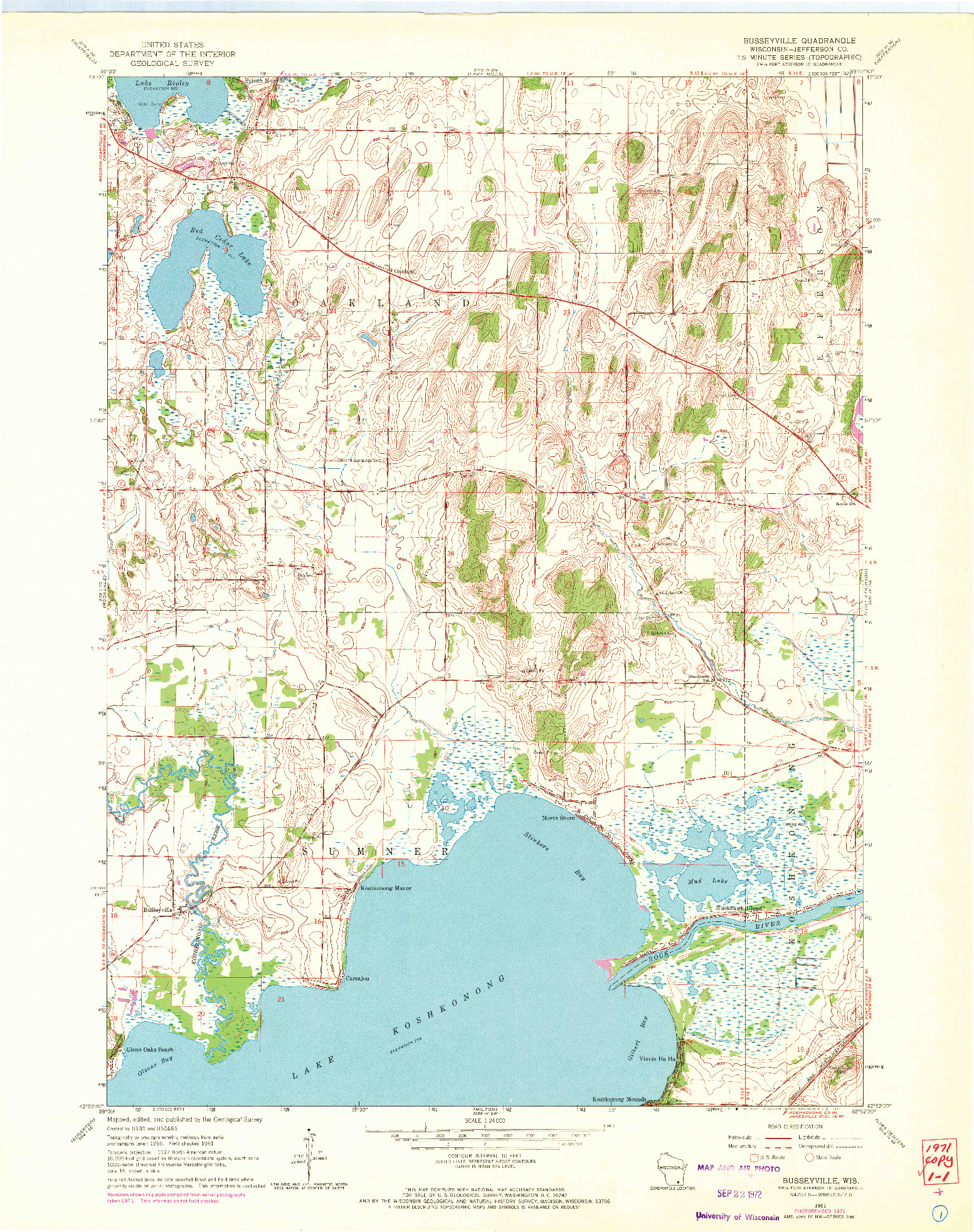 USGS 1:24000-SCALE QUADRANGLE FOR BUSSEYVILLE, WI 1961
