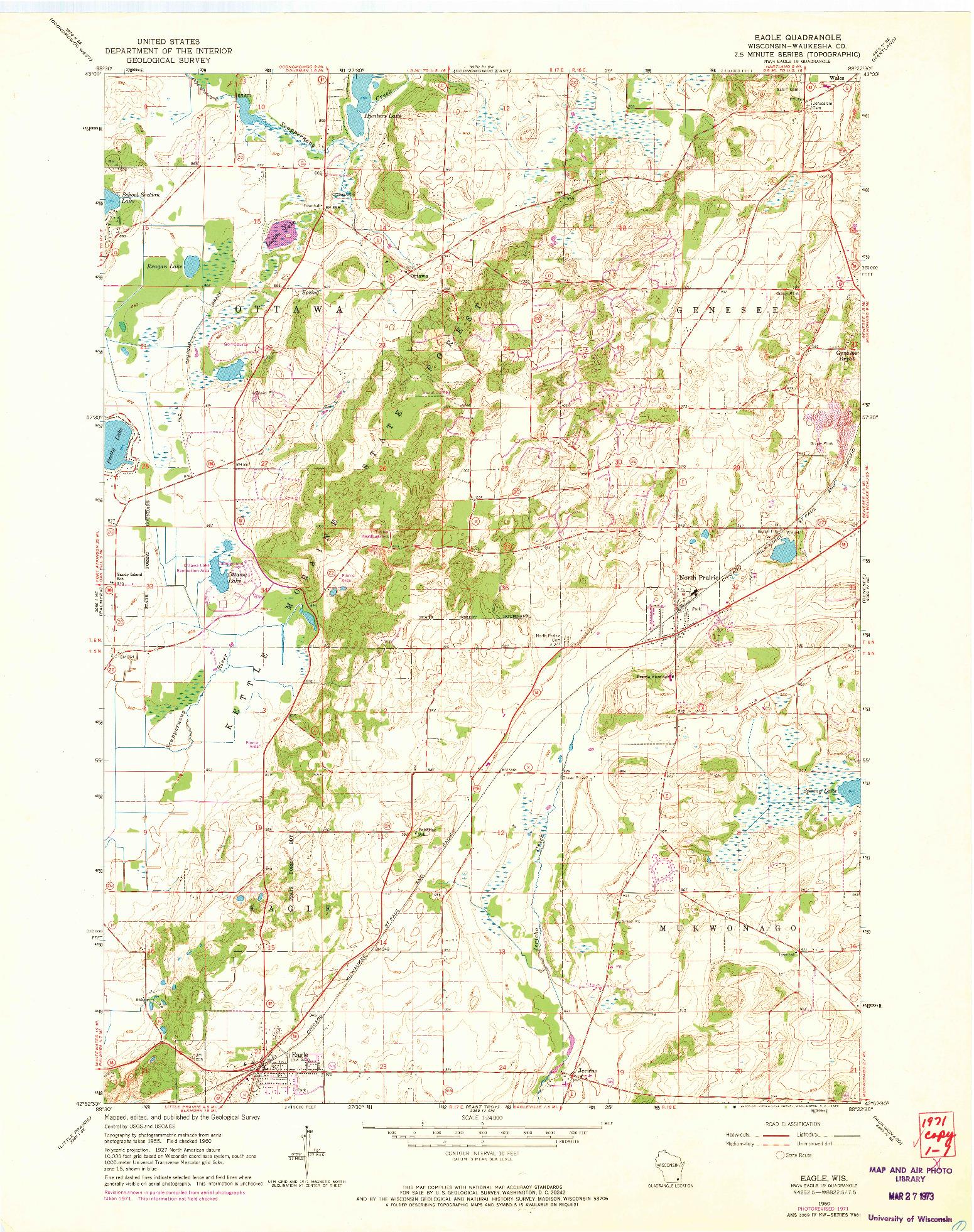 USGS 1:24000-SCALE QUADRANGLE FOR EAGLE, WI 1960