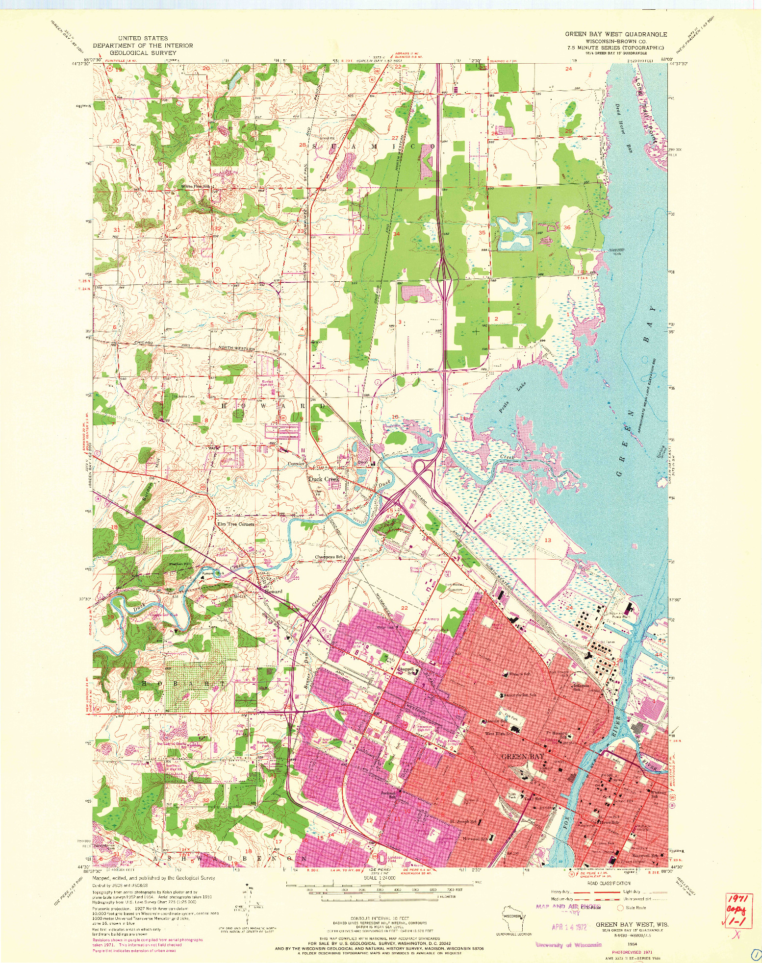 USGS 1:24000-SCALE QUADRANGLE FOR GREEN BAY WEST, WI 1954