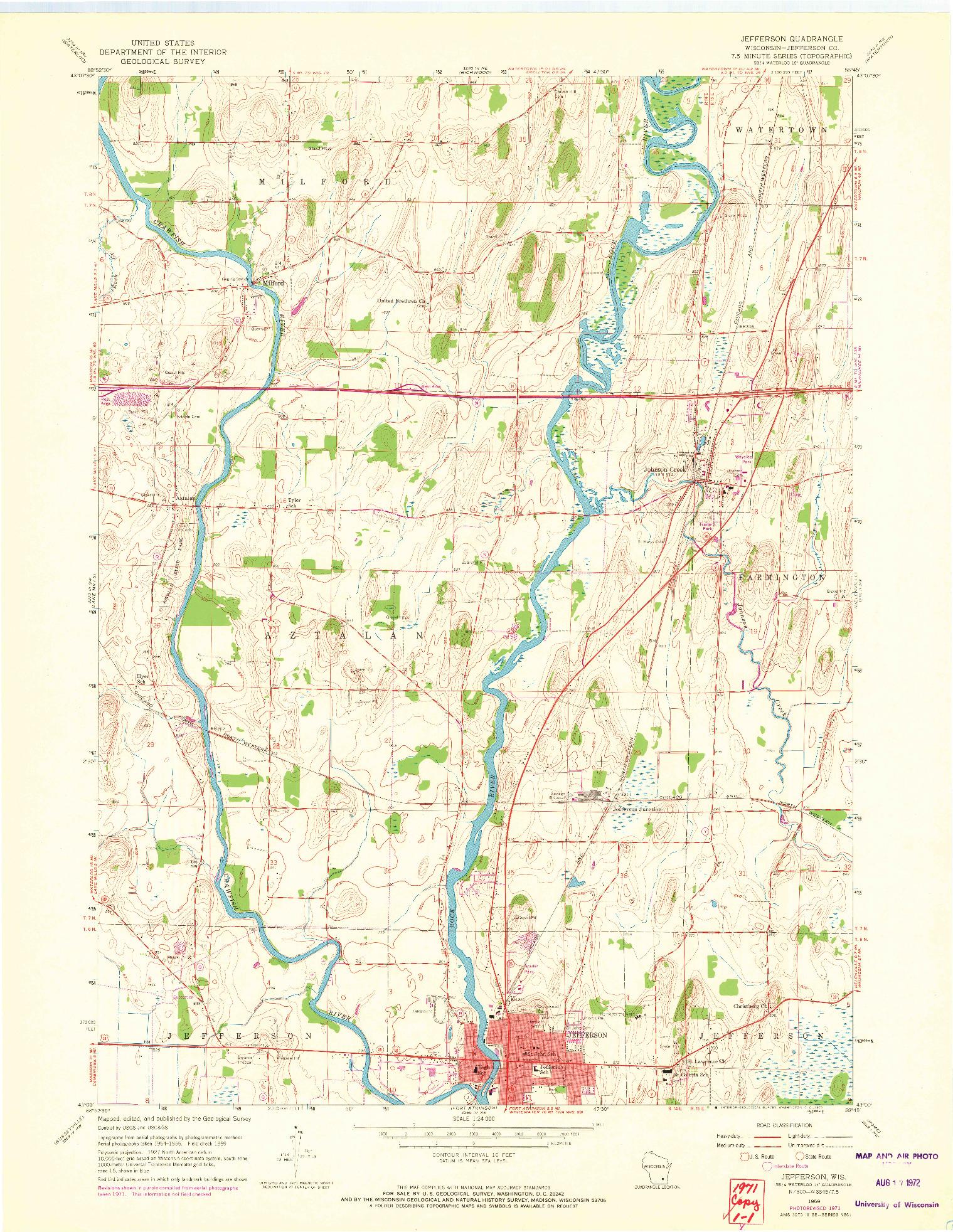USGS 1:24000-SCALE QUADRANGLE FOR JEFFERSON, WI 1959
