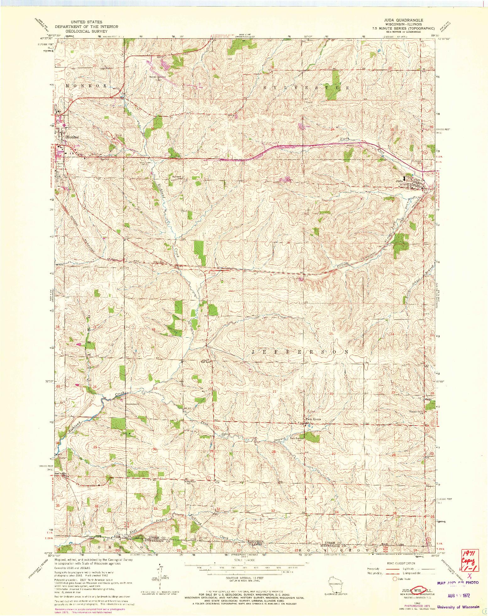 USGS 1:24000-SCALE QUADRANGLE FOR JUDA, WI 1962