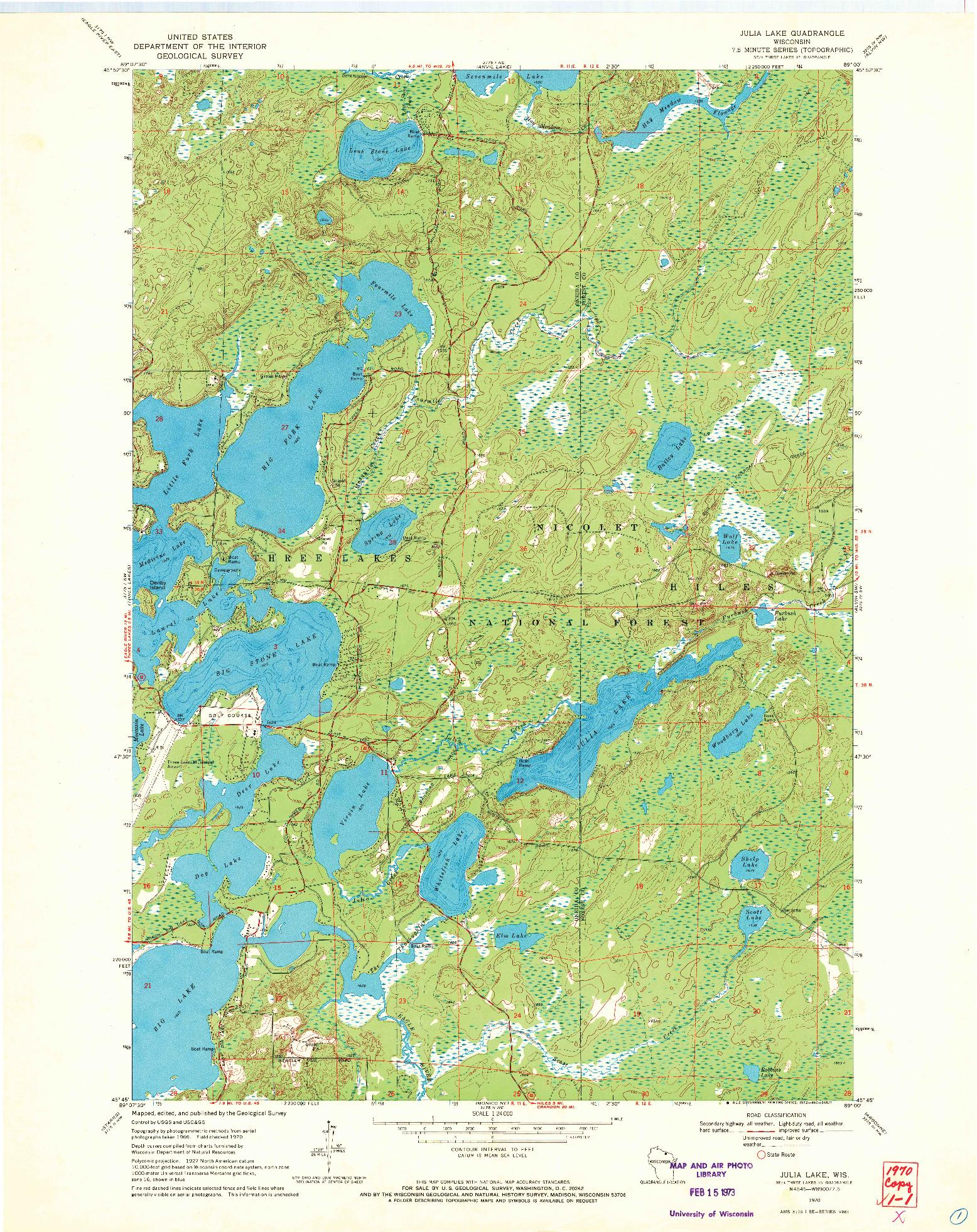 USGS 1:24000-SCALE QUADRANGLE FOR JULIA LAKE, WI 1970
