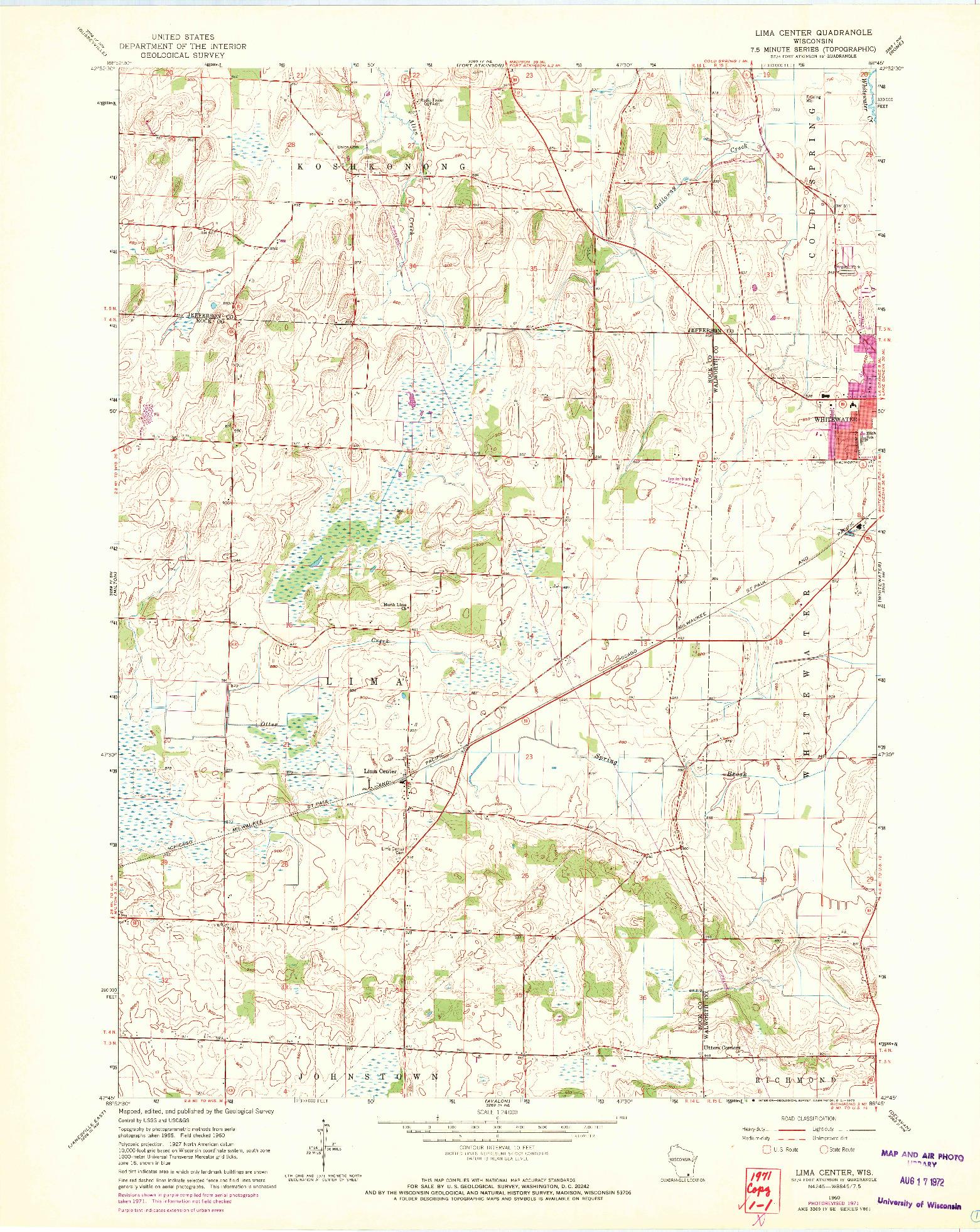 USGS 1:24000-SCALE QUADRANGLE FOR LIMA CENTER, WI 1960