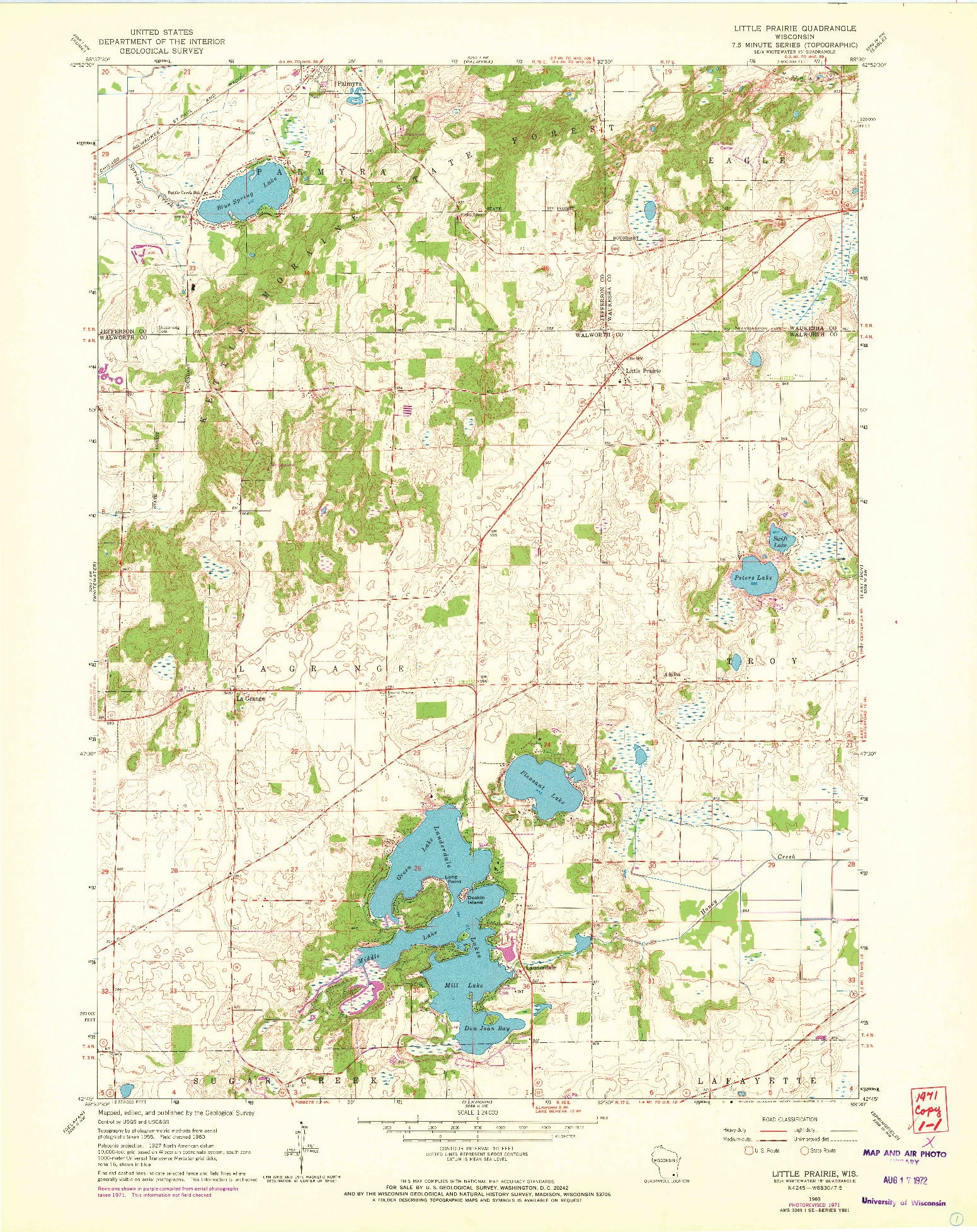 USGS 1:24000-SCALE QUADRANGLE FOR LITTLE PRAIRIE, WI 1960