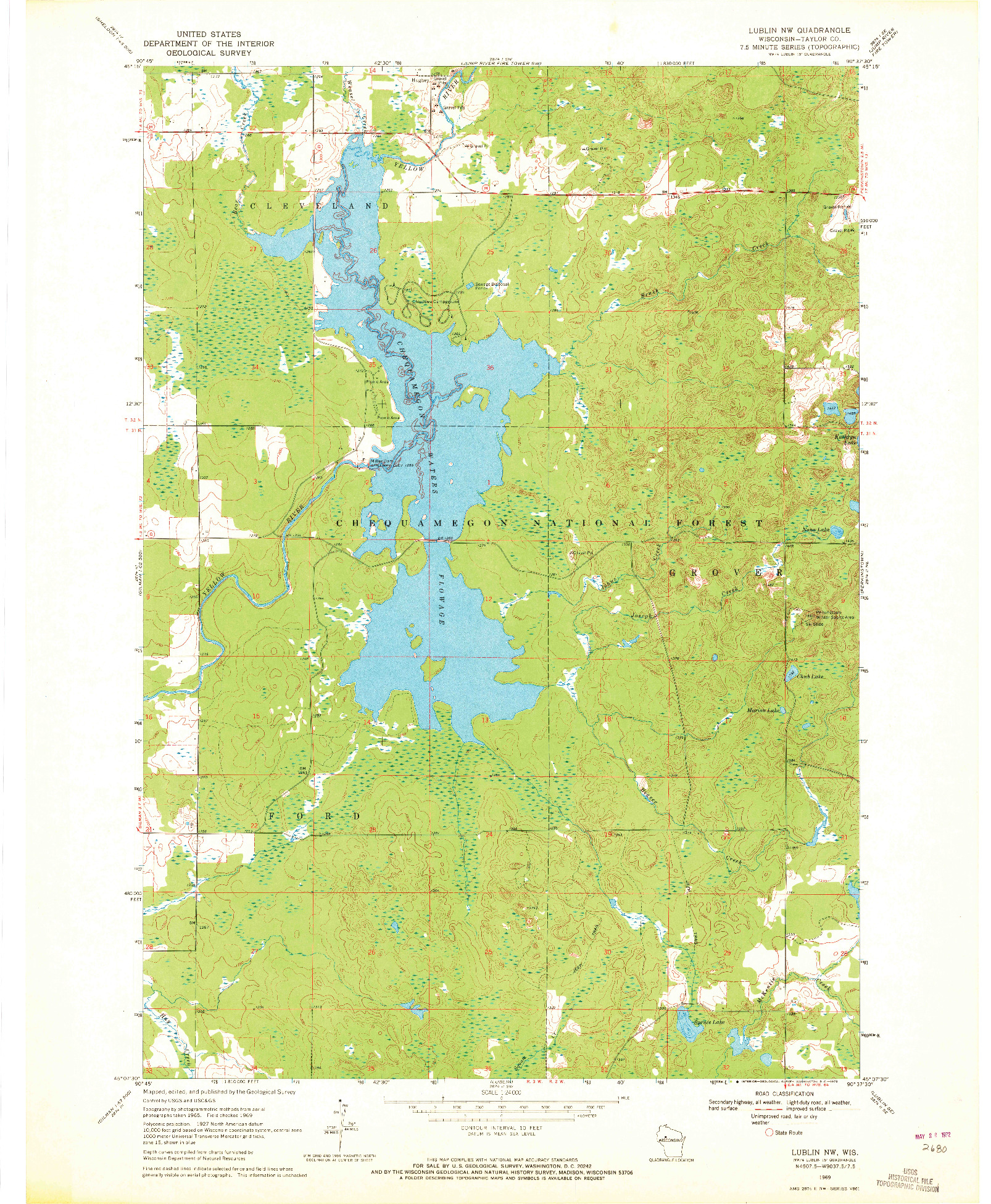 USGS 1:24000-SCALE QUADRANGLE FOR LUBLIN NW, WI 1969