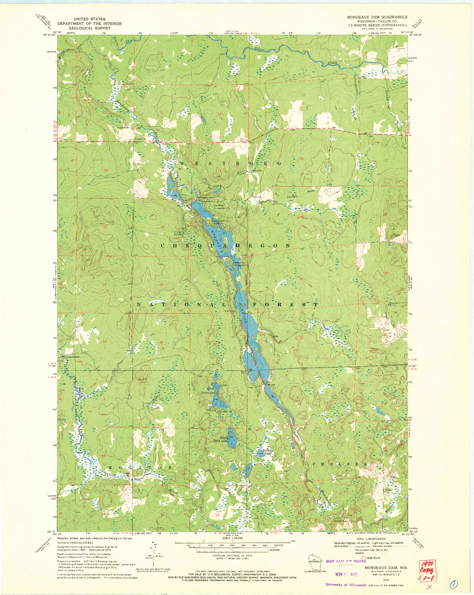 USGS 1:24000-SCALE QUADRANGLE FOR MONDEAUX DAM, WI 1970
