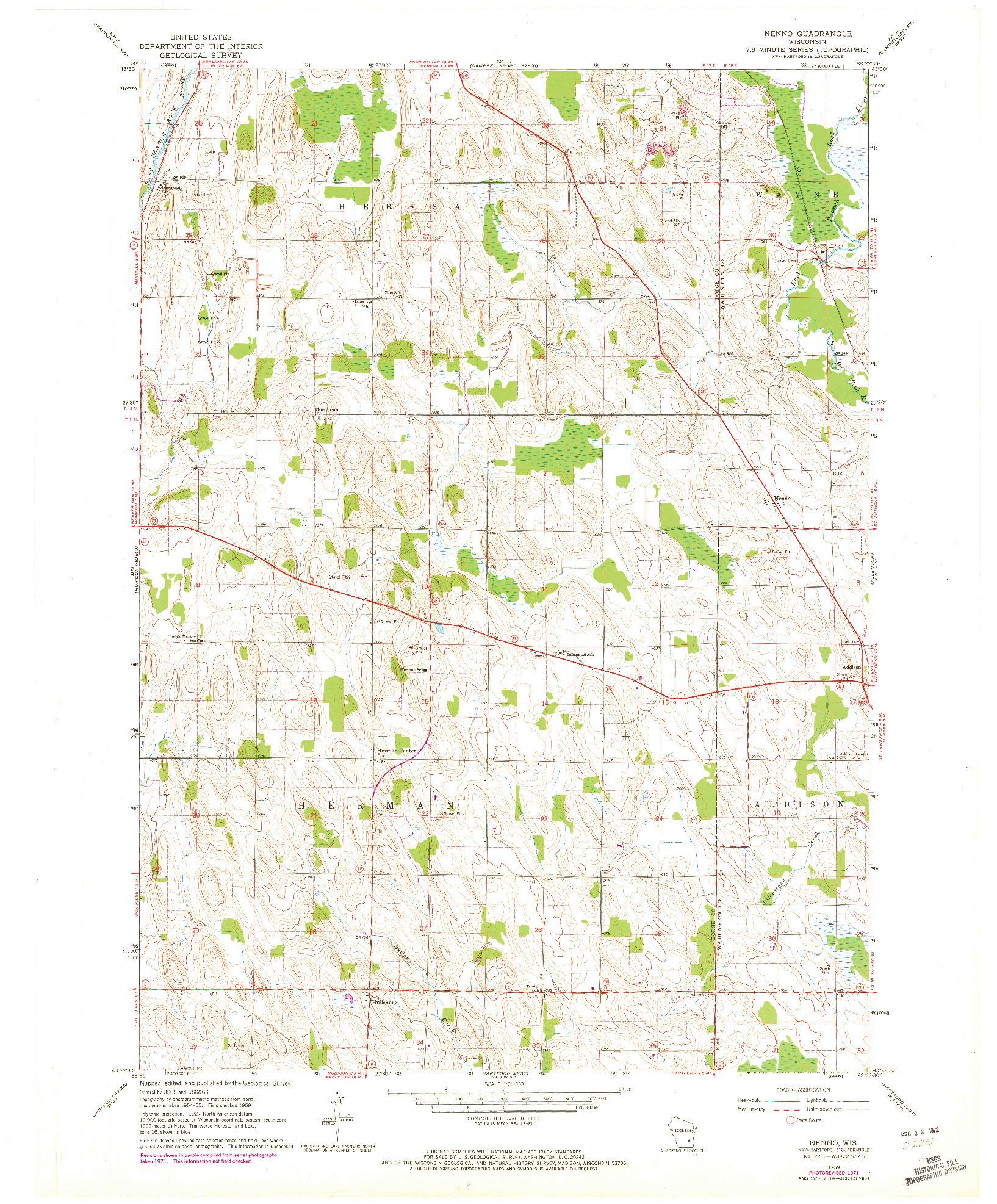 USGS 1:24000-SCALE QUADRANGLE FOR NENNO, WI 1959